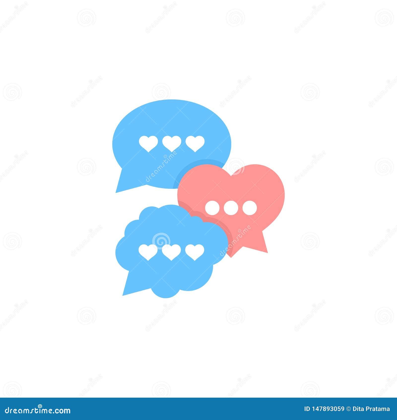 Talking about love, bubble speech vector illustration.