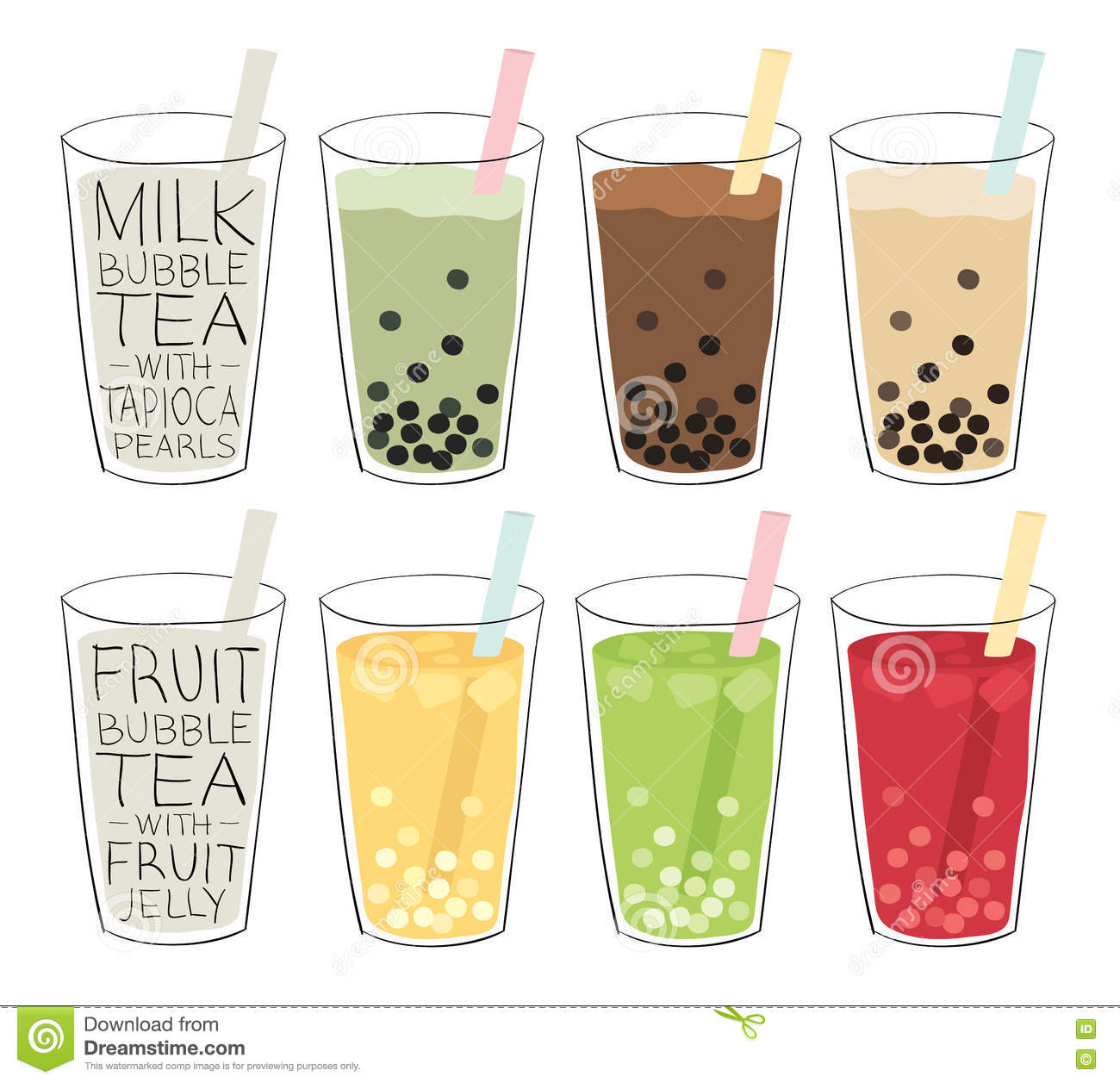 Boba Bubble Tea With Straw Background Cartoon Vector ...