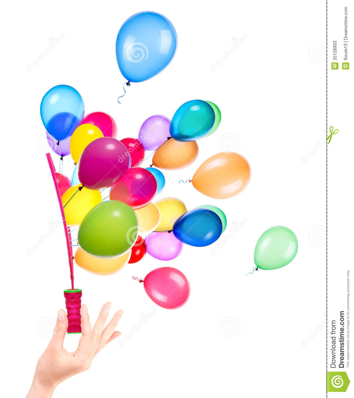 bubble wand and flying balloons stock photos image 35128903