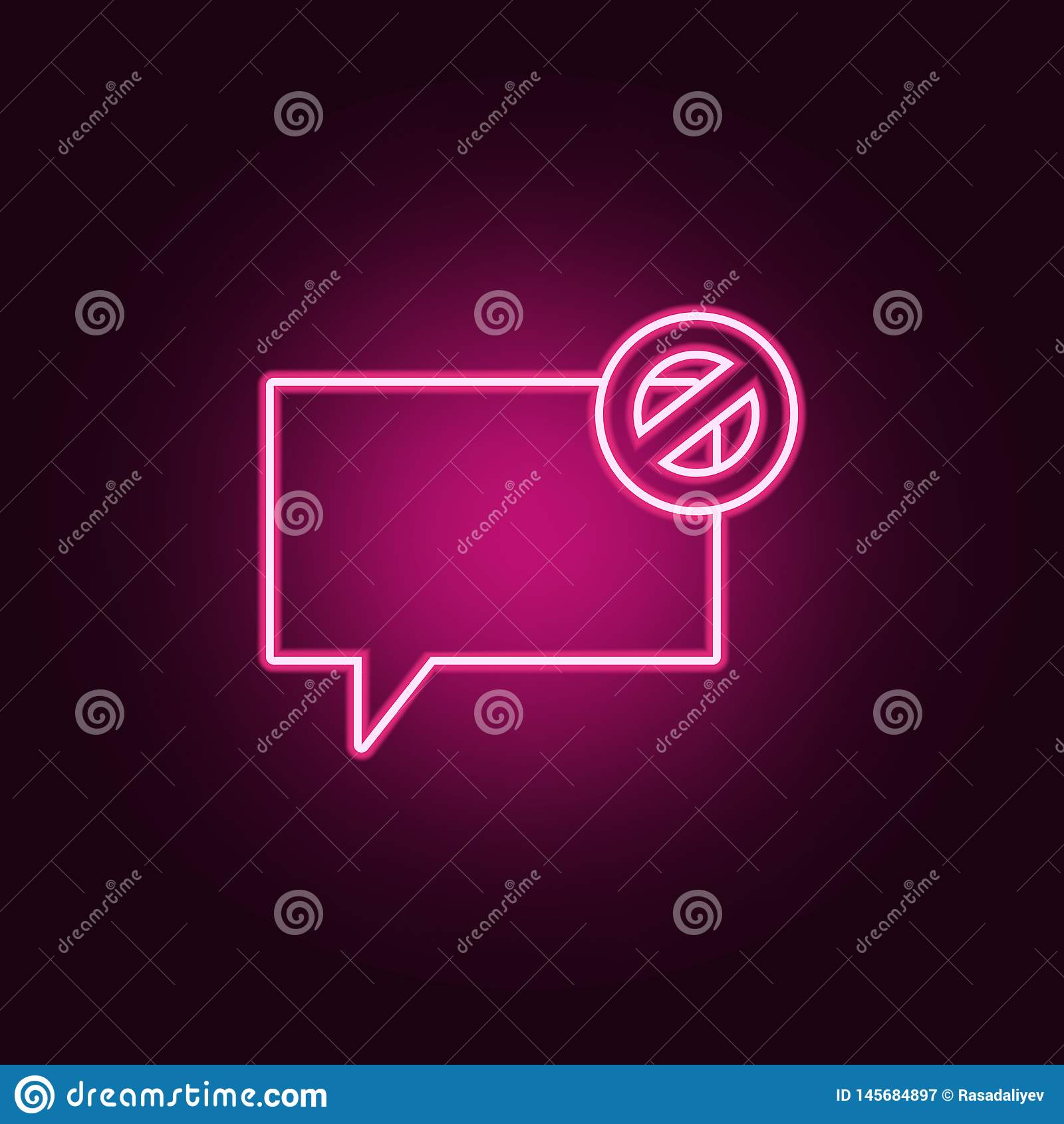 bubbles of communication with the ban icon. Elements of Web in neon style icons. Simple icon for websites, web design, mobile app