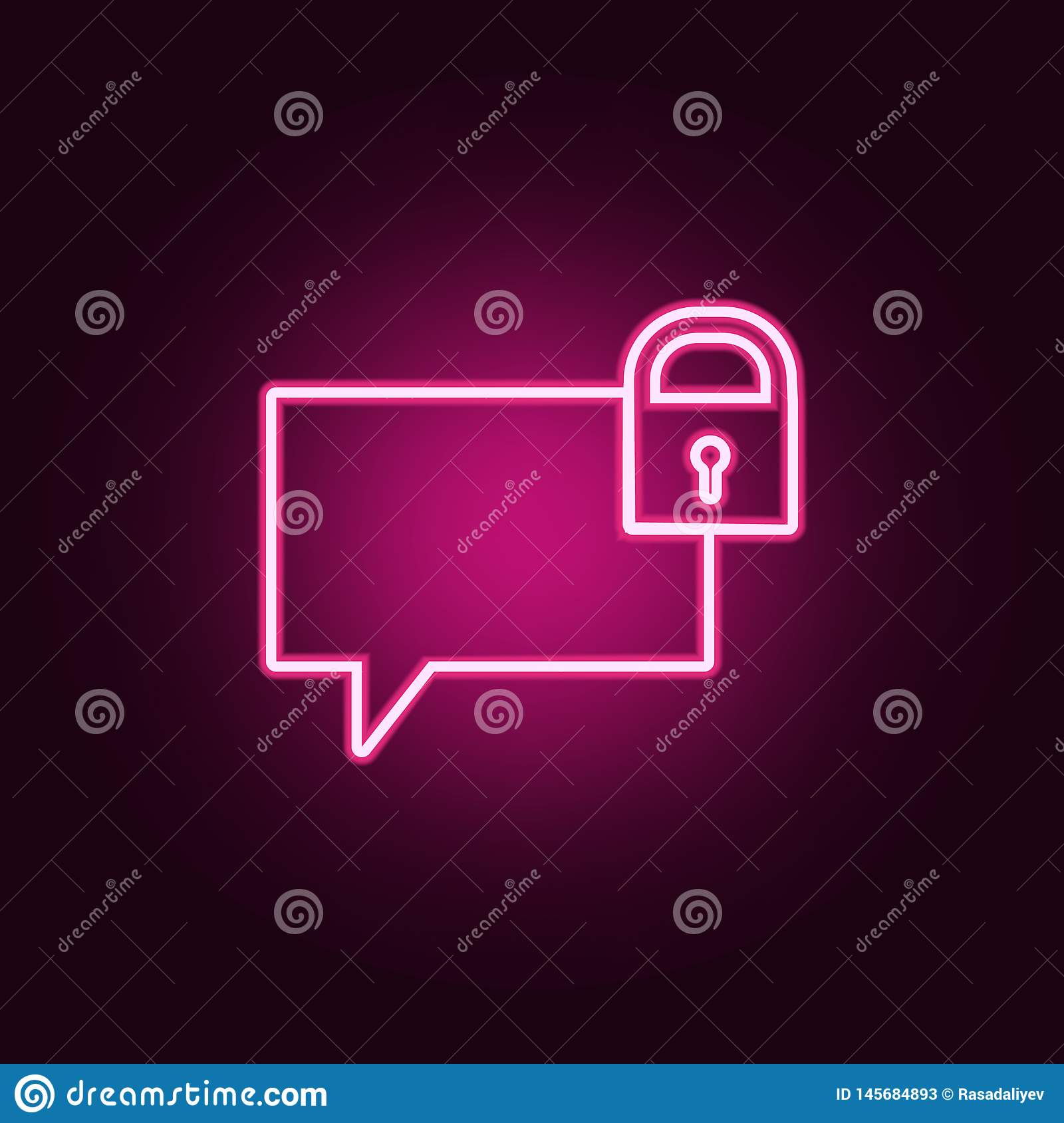 bubbles of communication with the lock icon. Elements of Web in neon style icons. Simple icon for websites, web design, mobile app