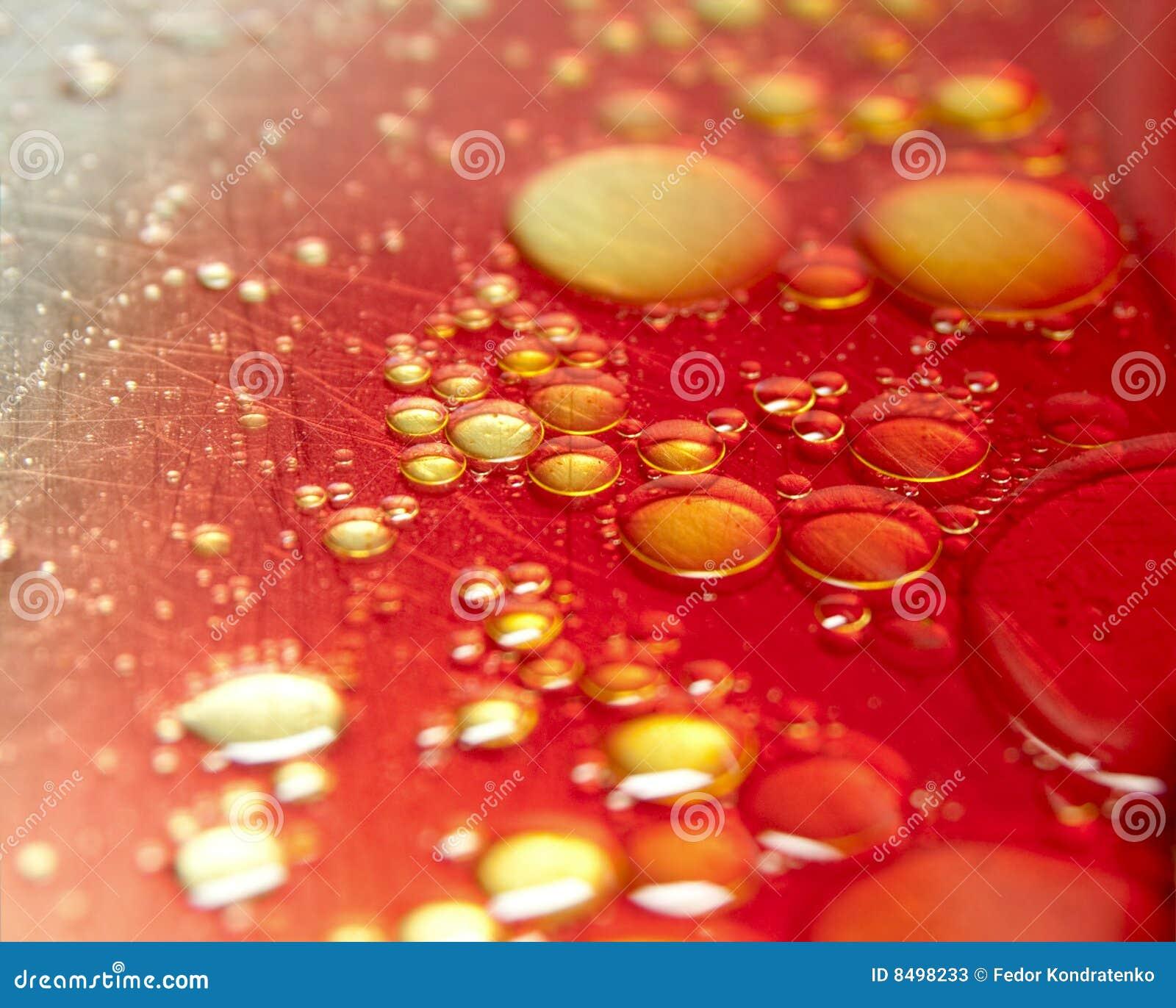 Bubbles of oil in blood on scraped metal
