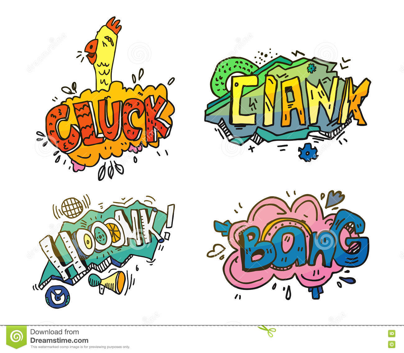 Bubbles of sounds for comix or cartoon, comic book or magazine. Onomatopoeia like clank for mechanical crash or crush