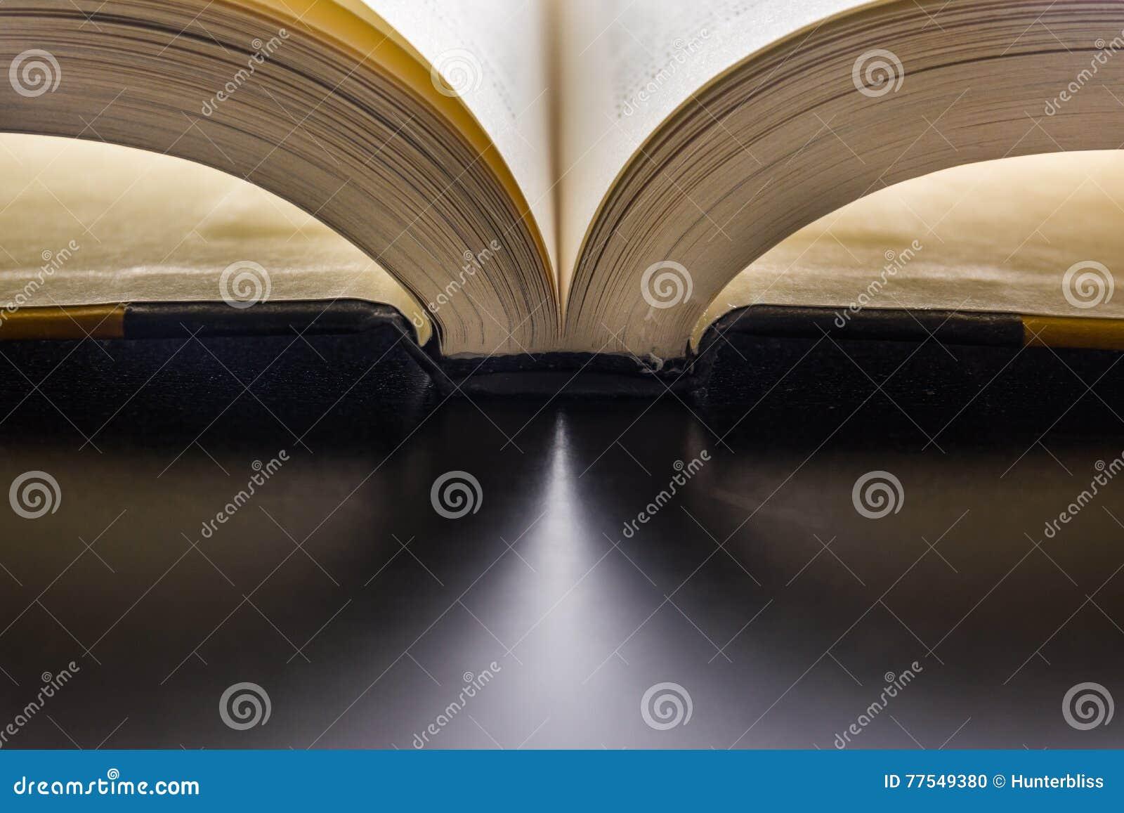 Buch-Seiten, welche die Dorn-Lesung leicht schlägt den neue Wort-schwarzen Schreibtisch hell binden