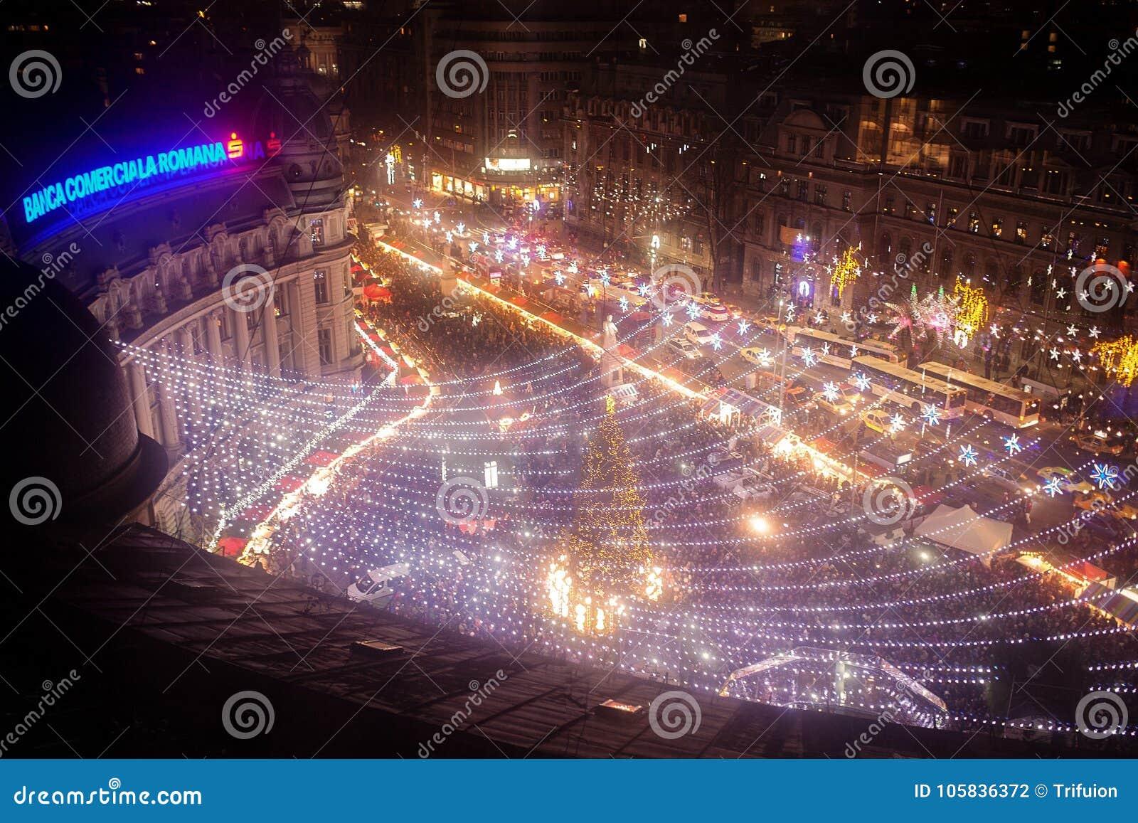 Bucharest Christmas Fair from Universitatii Square