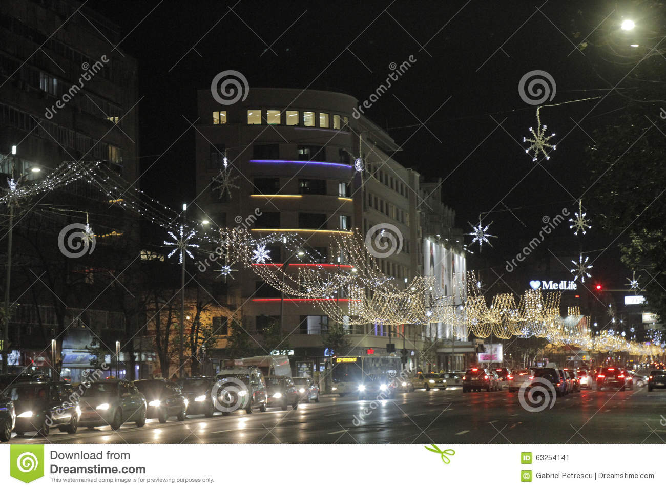 bucharest romania december 02 2015 nightscene in bucharest center when the christmas lights and decorations are on - When Is Christmas In 2015