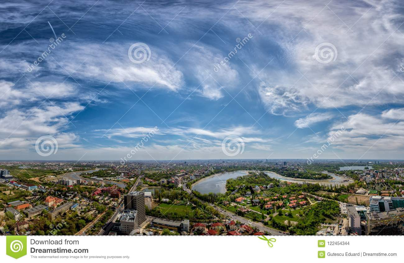 Bucharest cityscape panoramic day time view