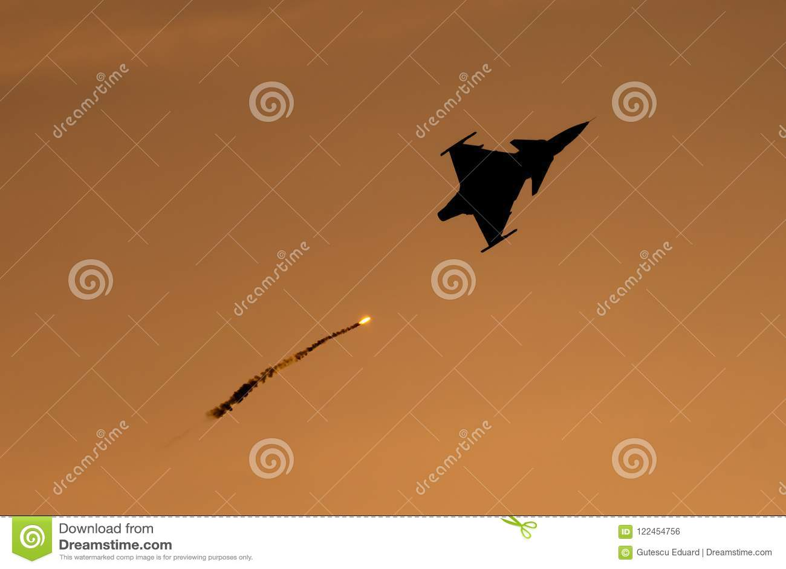 Bucharest international air show BIAS, Saab 9 Gripen silhouette with flares