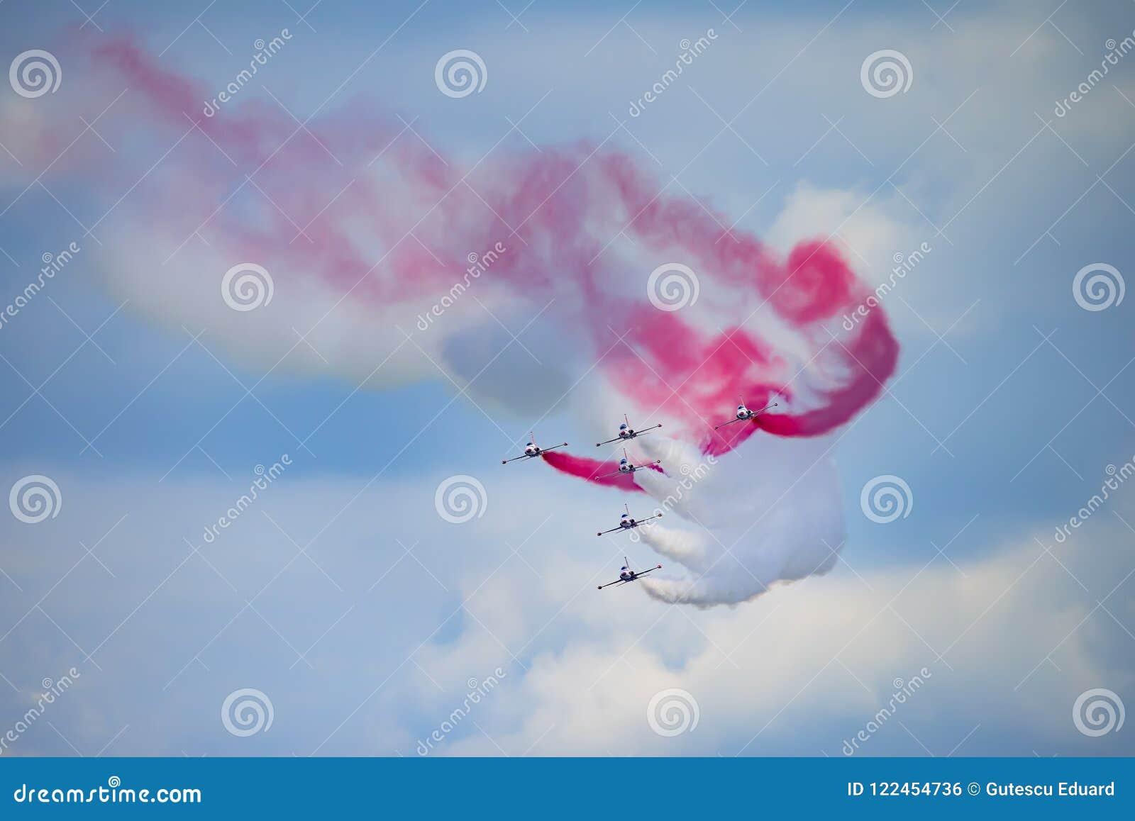 Bucharest international air show BIAS, white red sparks Poland aerobatic display team.