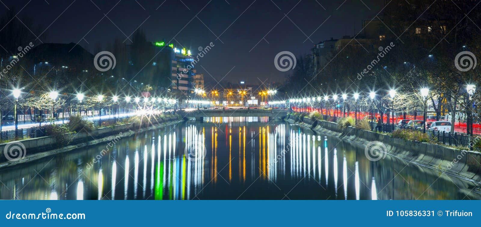 Bucharest at Night - Dambovita river - panorama picture