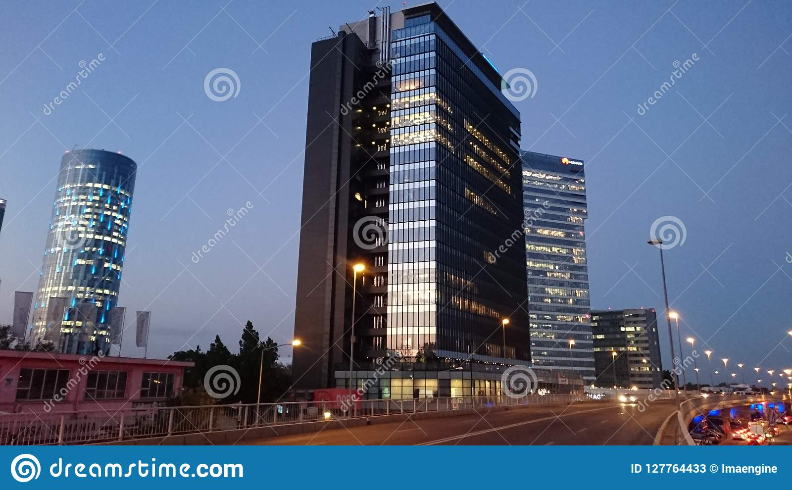Bucharest by night - office buildings in Pipera district