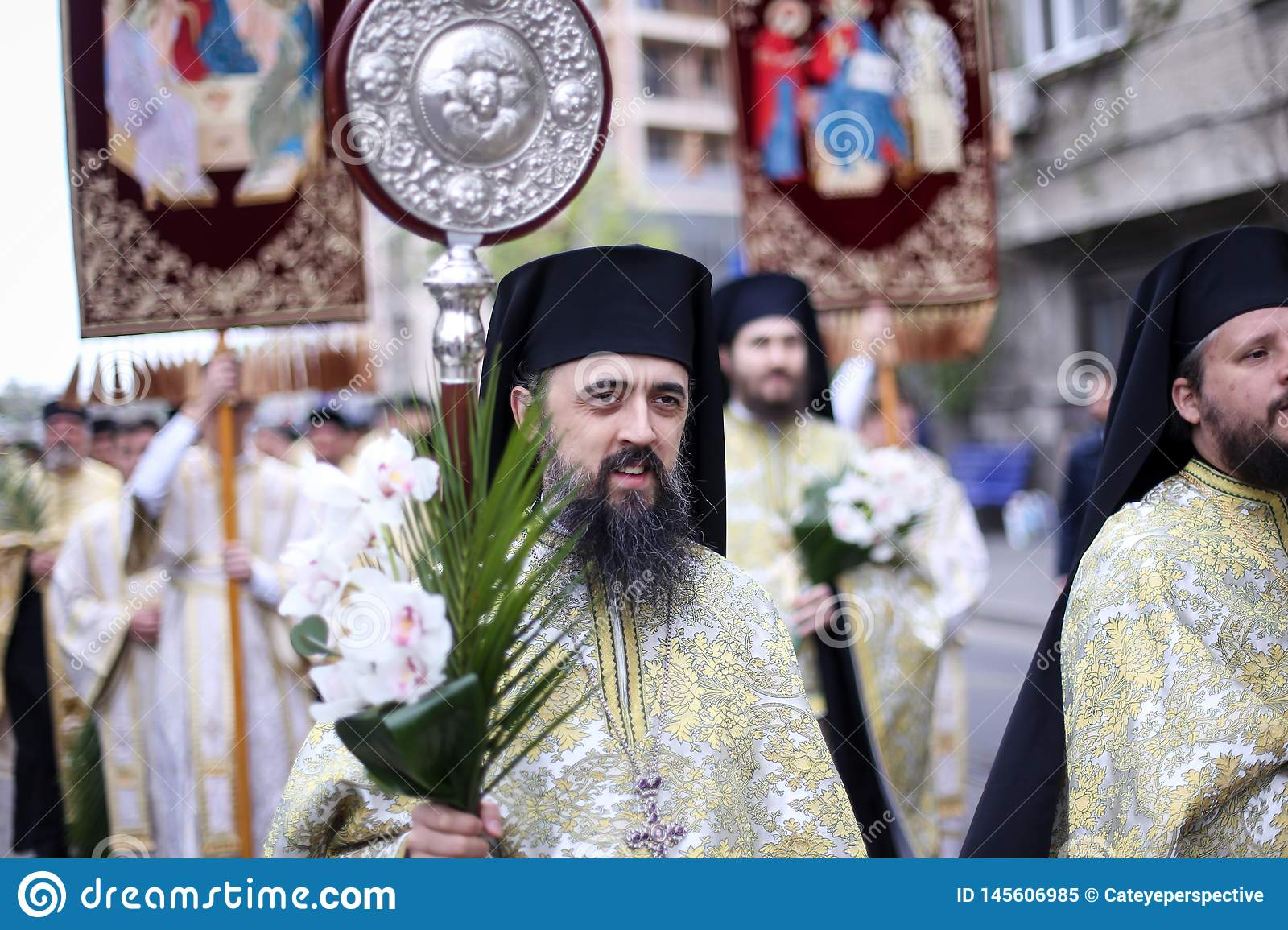 Romanian Orthodox Priests During A Palm Sunday Pilgrimage ...