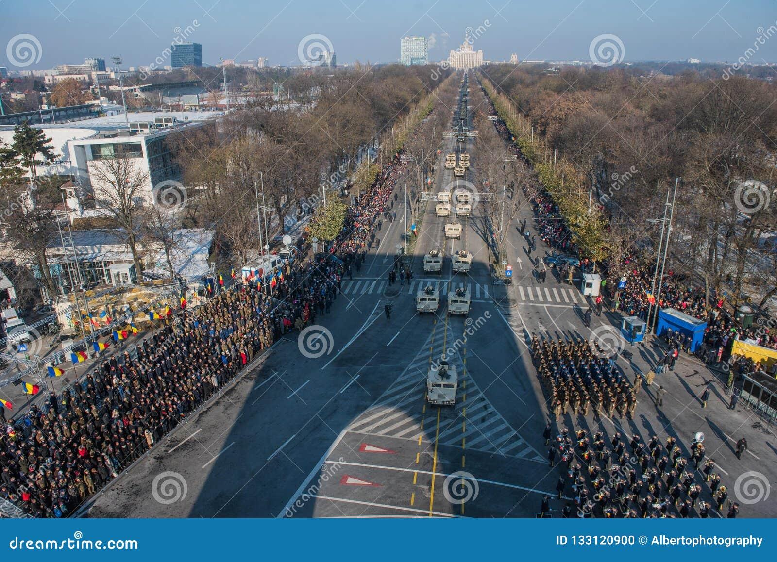 Military parade celebrating Romania`s National Day
