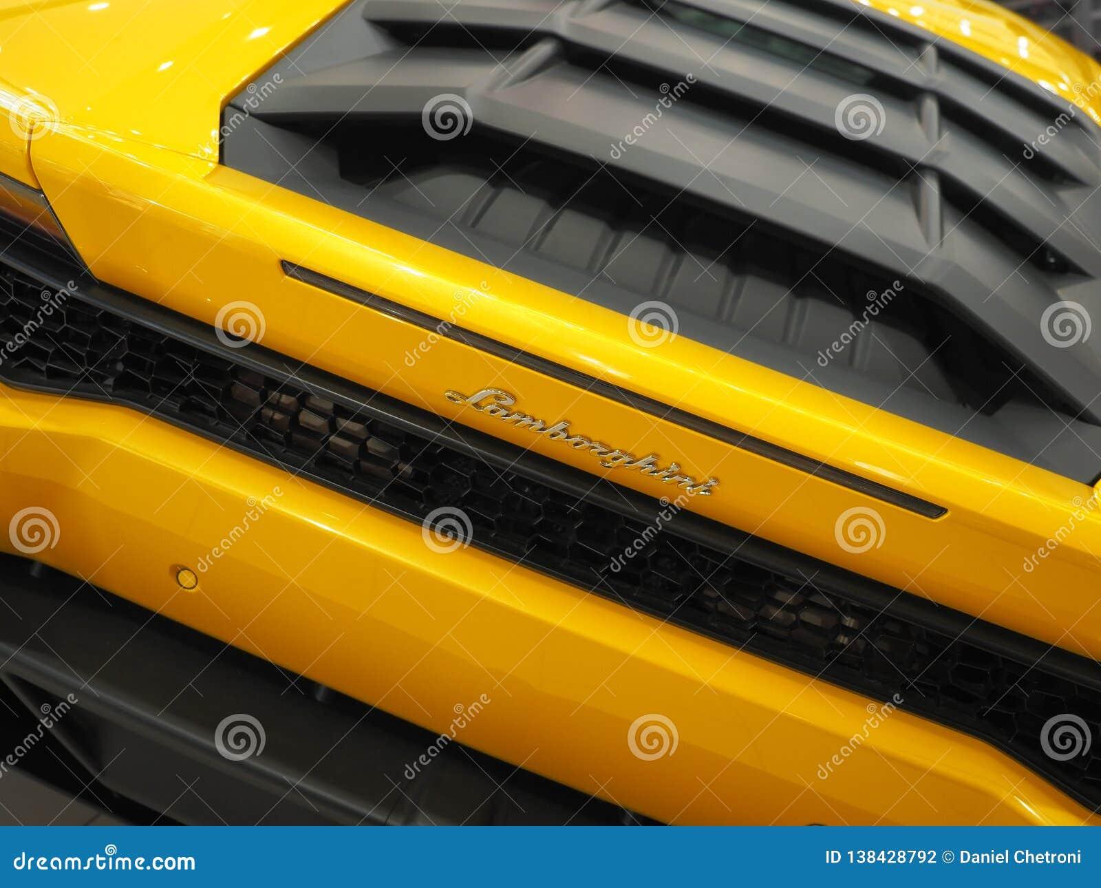 BUCHAREST, ROMANIA , FEBRUARY 03, 2019. Yellow Lamborghini