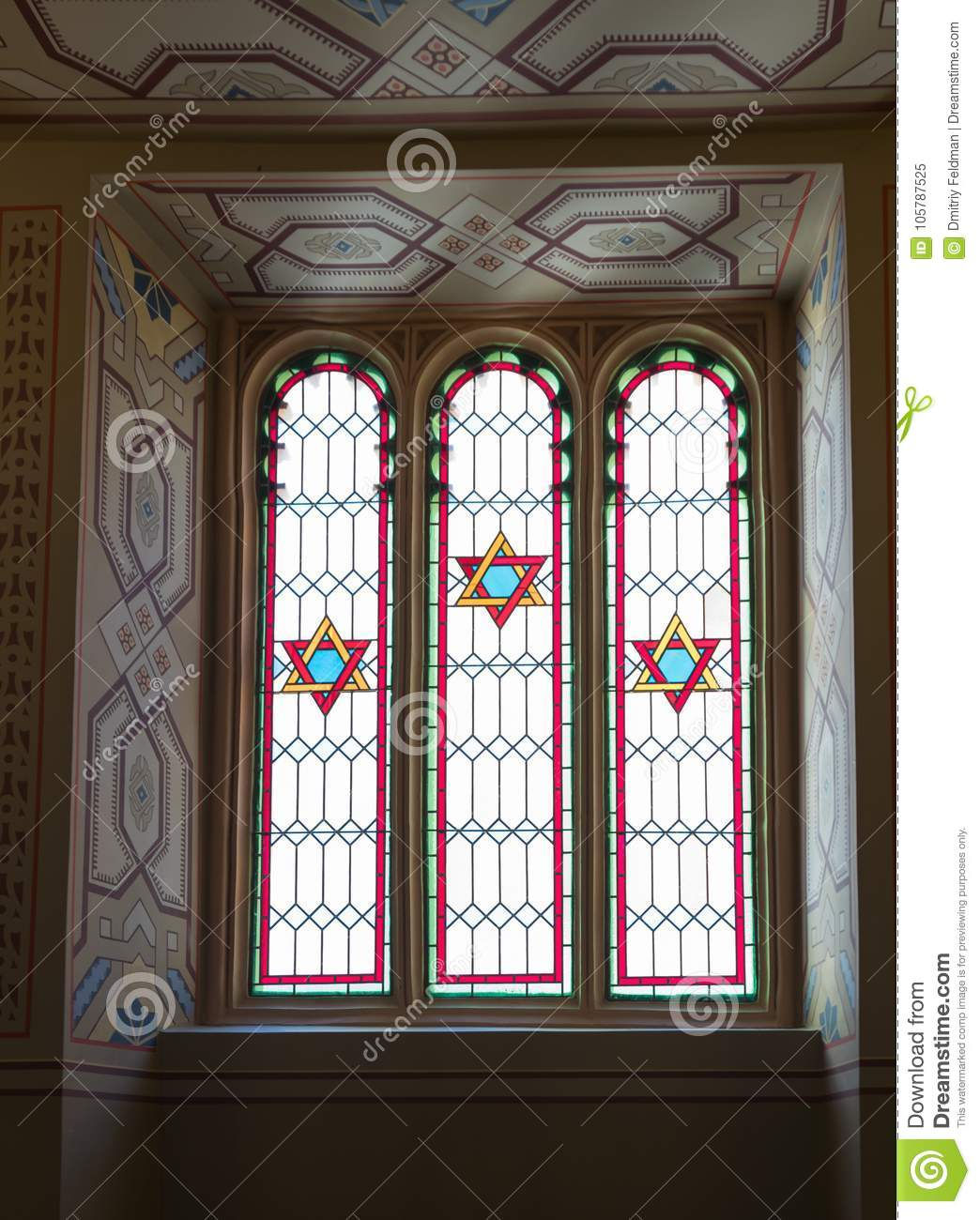 Window decorated with stained glass in the synagogue Coral in Bucharest city in Romania