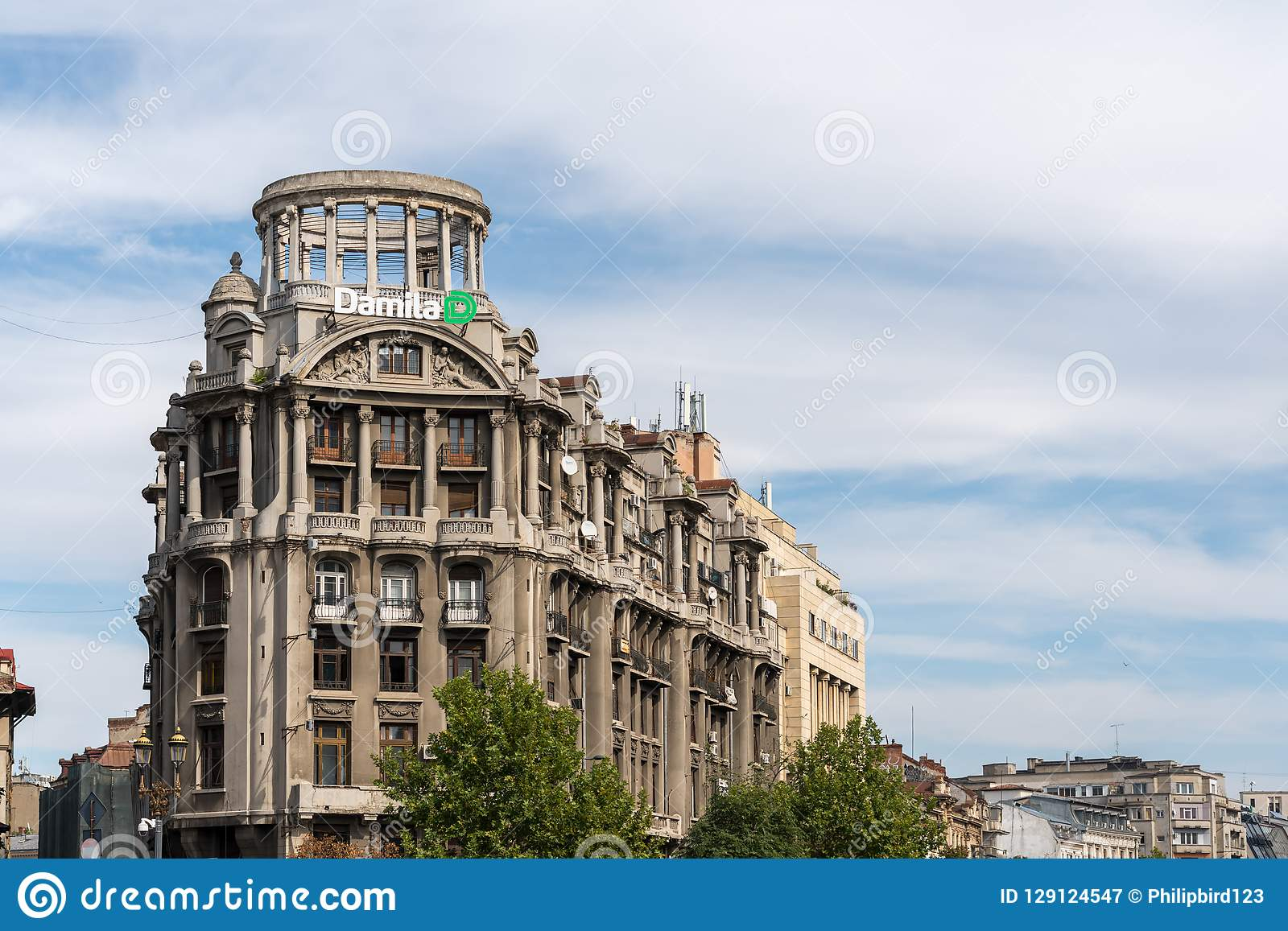 BUCHAREST/ROMANIA - SEPTEMBER 21 : View of old apartments in Bucharest Romania on September 21, 2018