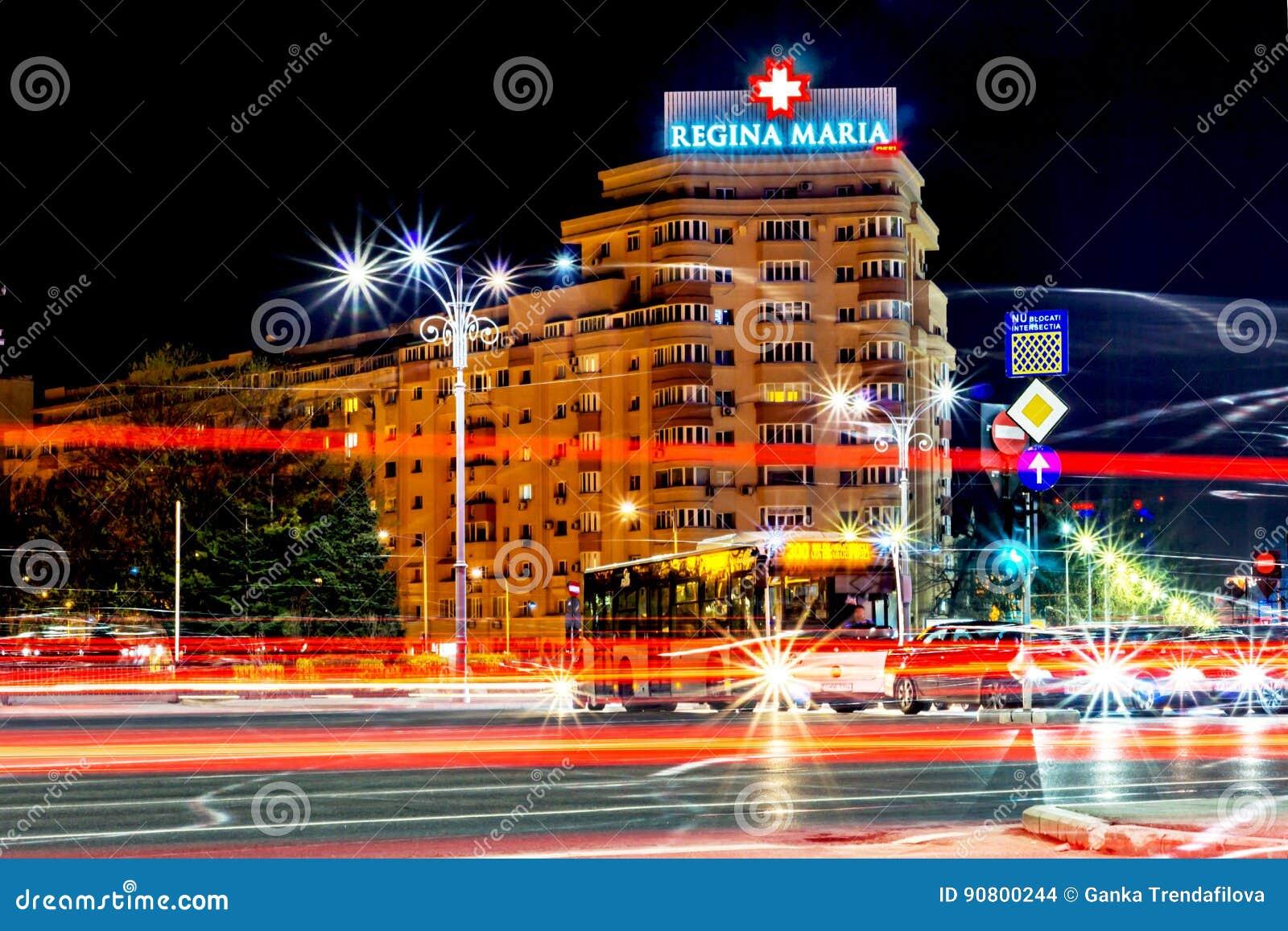 Bucharest Rumänien - 01 04 2017 nattslingor, Regina Maria