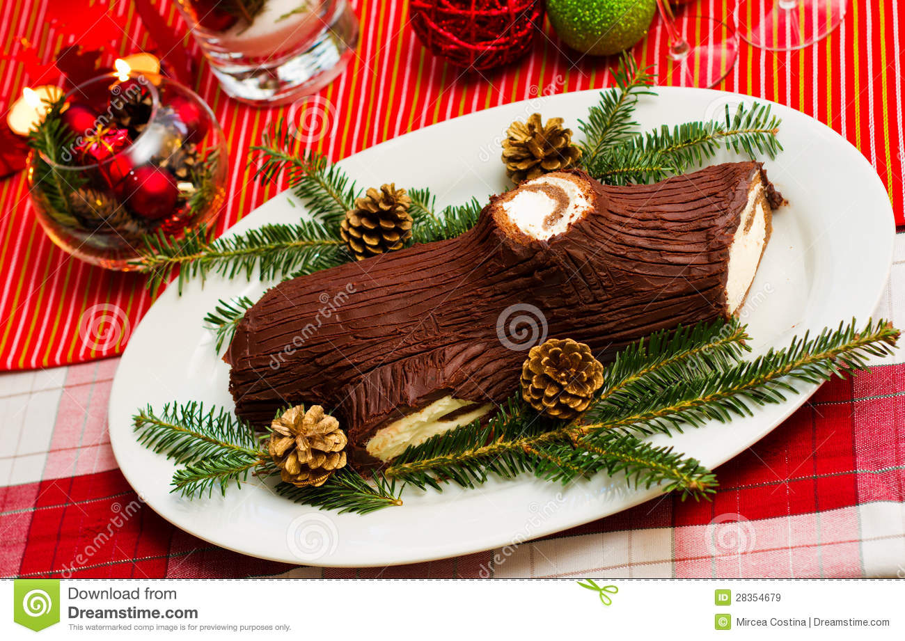 Buche de noel cake stock image image of canada light 28354679 - Buche de noel decorations ...