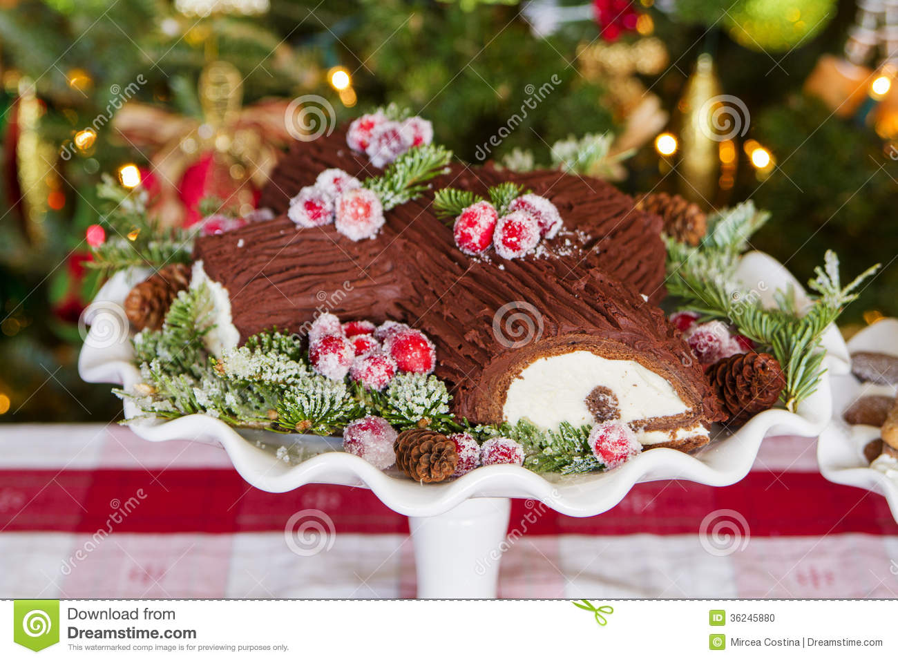 buche de noel cake stock photo image of display hungry 36245880. Black Bedroom Furniture Sets. Home Design Ideas