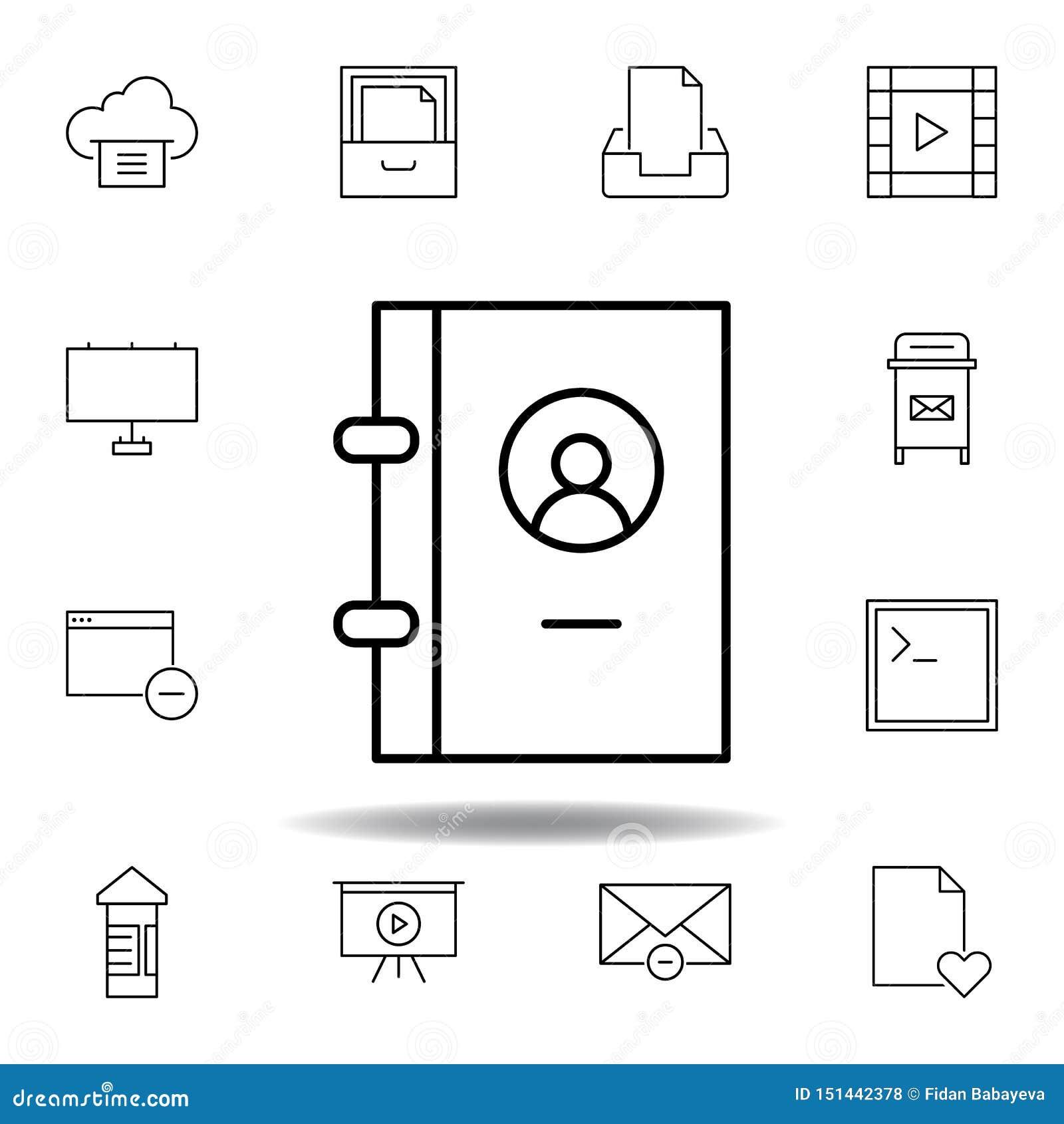 Buchkontakttelefon-Entwurfsikone Ausführlicher Satz unigrid Multimedia-Illustrationsikonen Kann für Netz, Logo, mobiler App, UI v