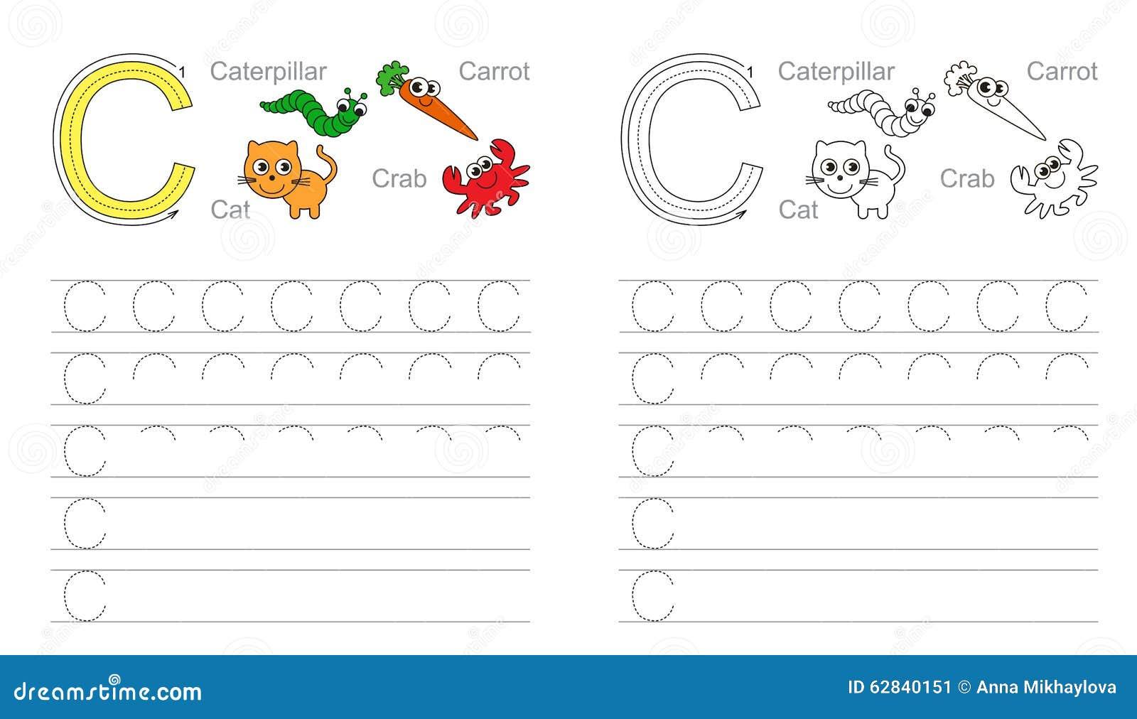 Buchstabe C Lernen Sie Handschrift Vektor Abbildung - Bild ...