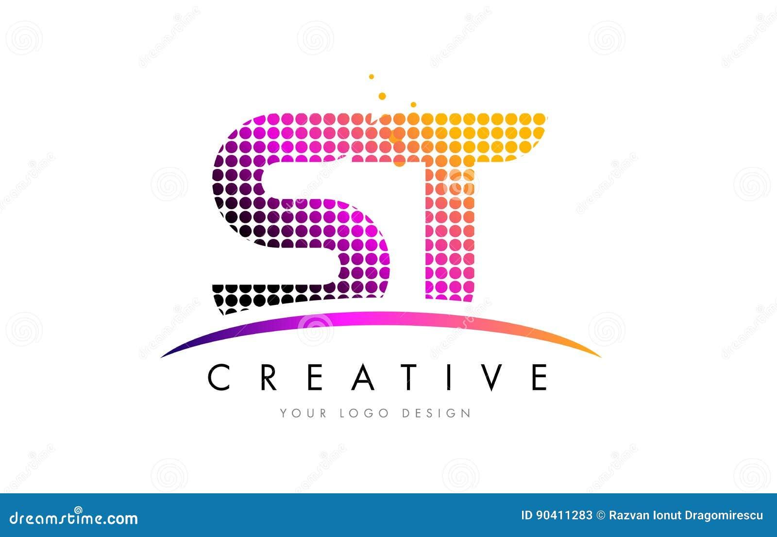 Buchstabe Logo Design St S T Mit Magentaroten Punkten Und