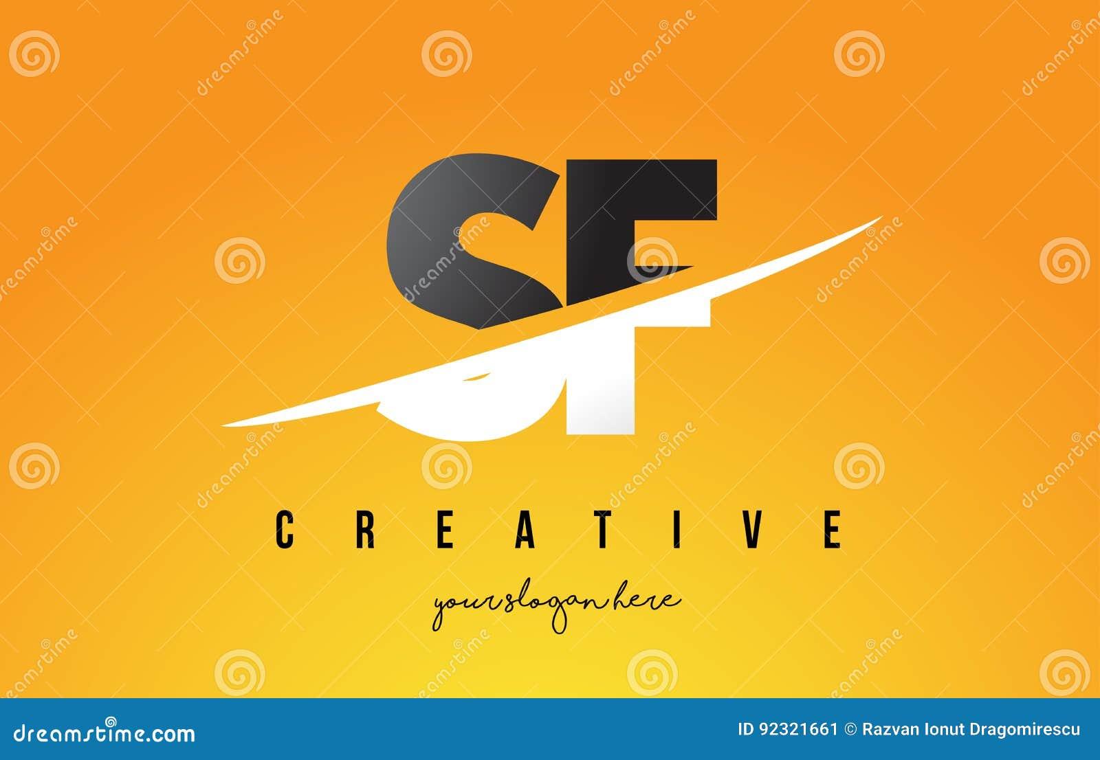 Buchstabe Moderner Logo Design Sf S F Mit Gelbem Hintergrund Und
