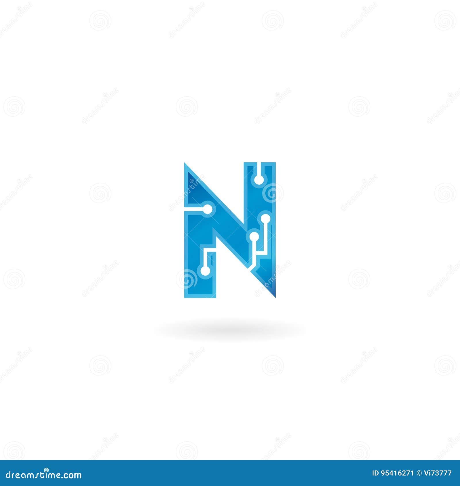 Buchstabe- Nikone Intelligentes Logo, Computer und Daten der Technologie bezogen sich das Geschäft, High-Tech und innovativ, elek