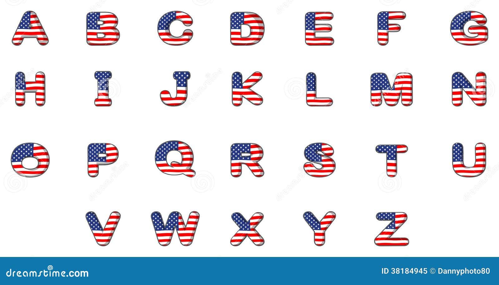 buchstaben des alphabetes mit der amerikanischen flagge lizenzfreies stockfoto bild 38184945. Black Bedroom Furniture Sets. Home Design Ideas