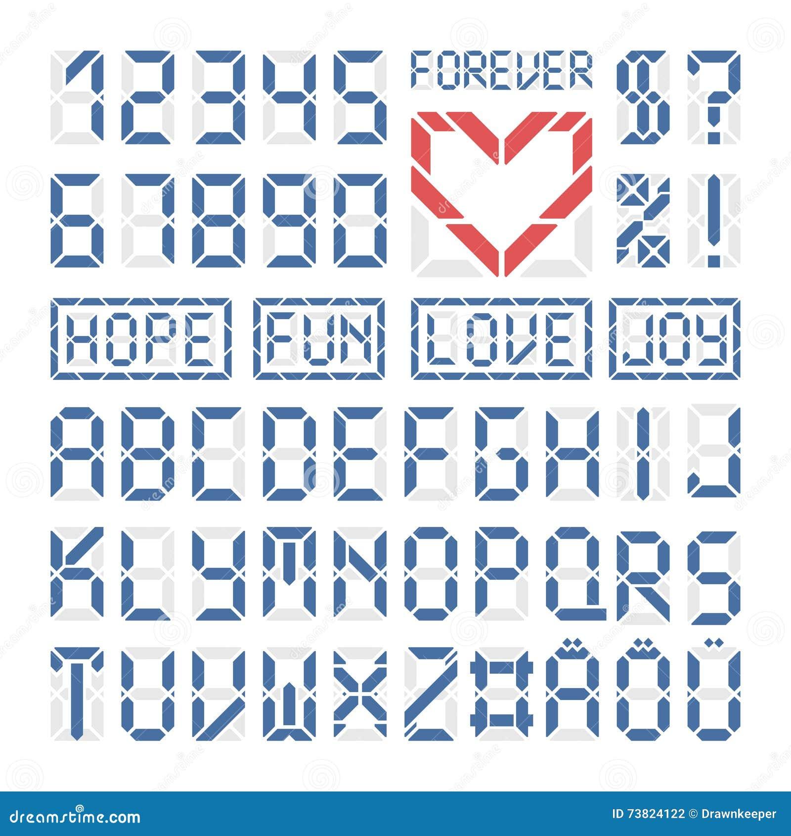 buchstaben und zahlen des lateinischen alphabetes digital gusses vektor abbildung illustration. Black Bedroom Furniture Sets. Home Design Ideas