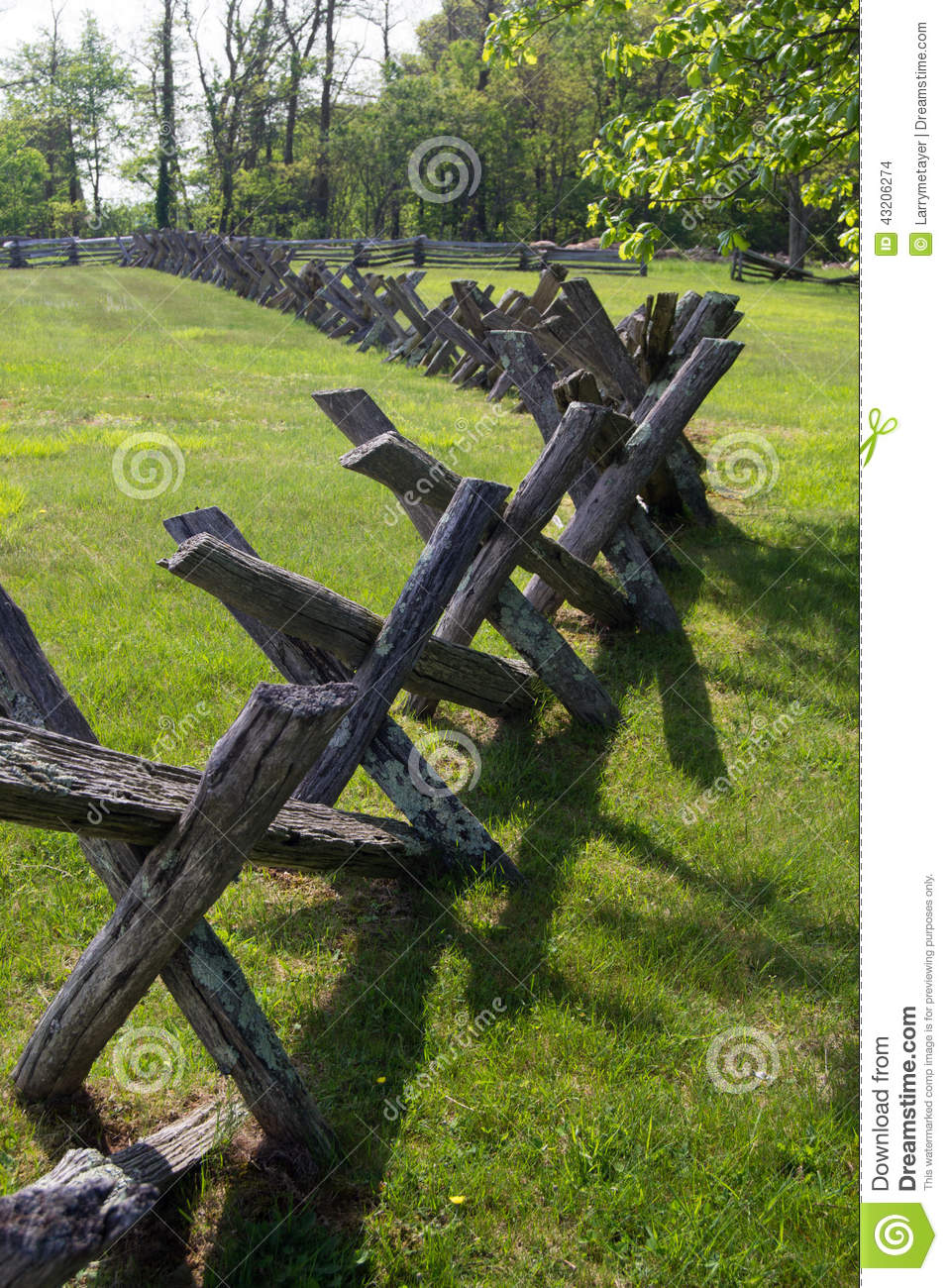 Buck rail fence blue ridge parkway virginia usa stock