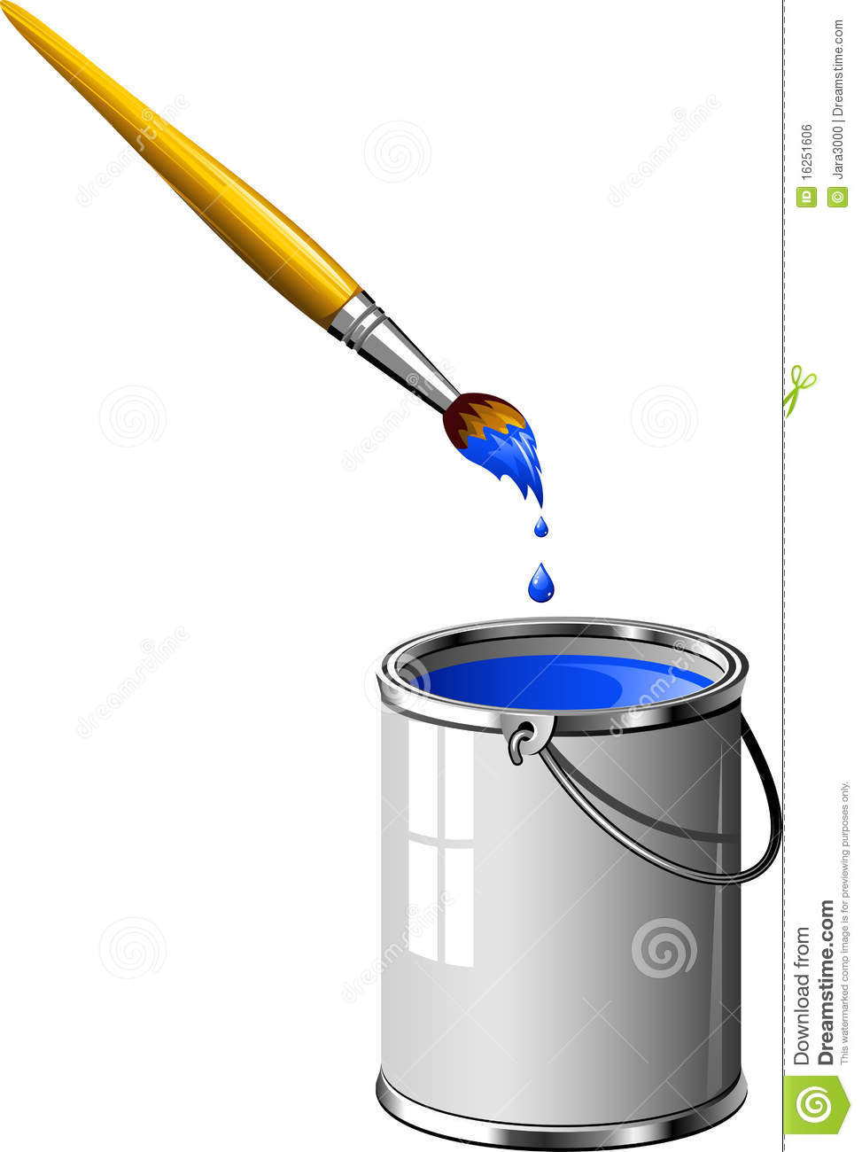 Darkbluepaintbrush: Bucket Of Blue Paint And A Brush Royalty Free Stock Image