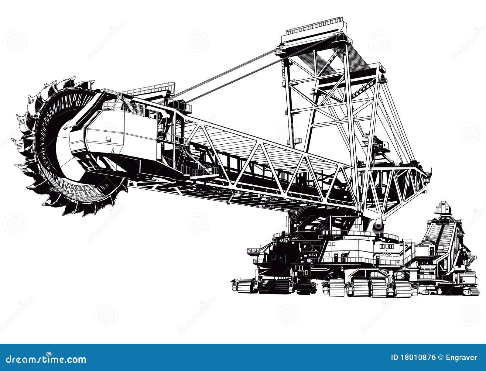 bucket excavator stock vector  illustration of machine