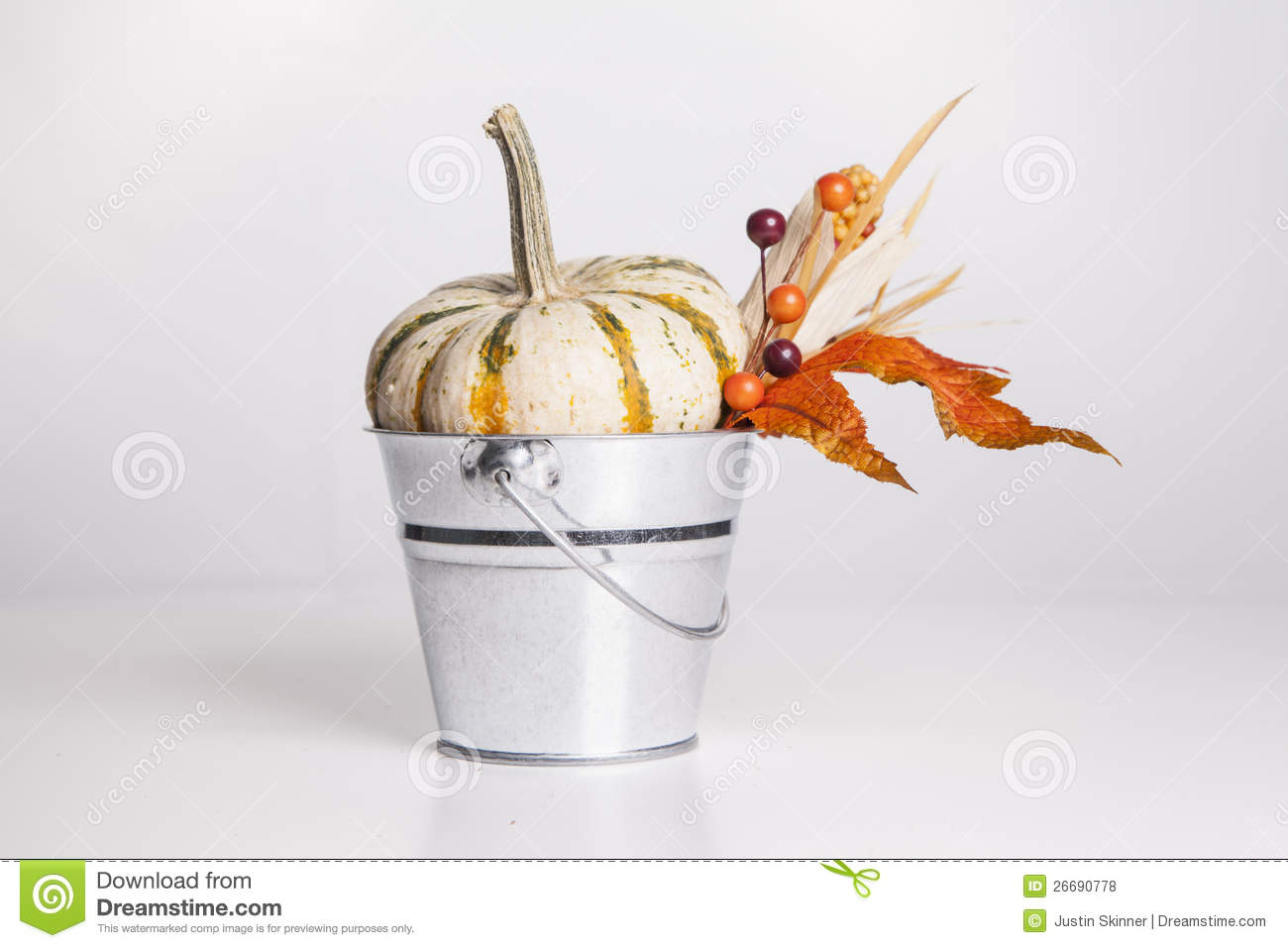 Bucket with fall decor royalty free stock photos image for How to decorate a bucket