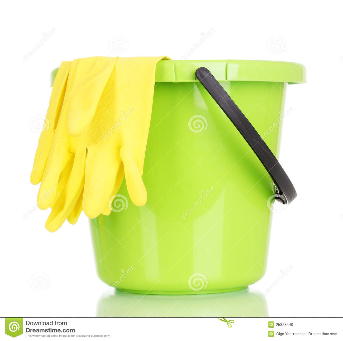 Bucket and gloves for cleaning