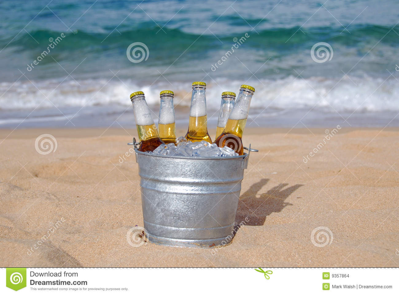Bucket Of Ice Cold Beer On The Beach Stock Photo Image