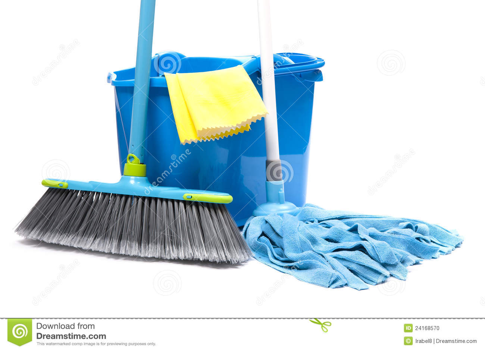 Bucket With Mop, Brush Stock Photo
