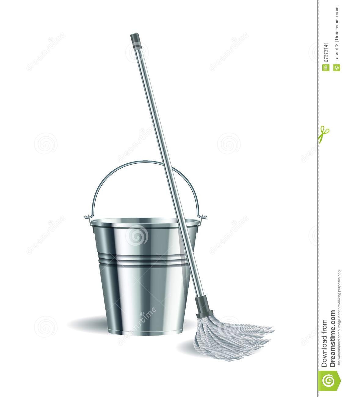 Bucket And Mop On White Background. Stock Image - Image: 27373741