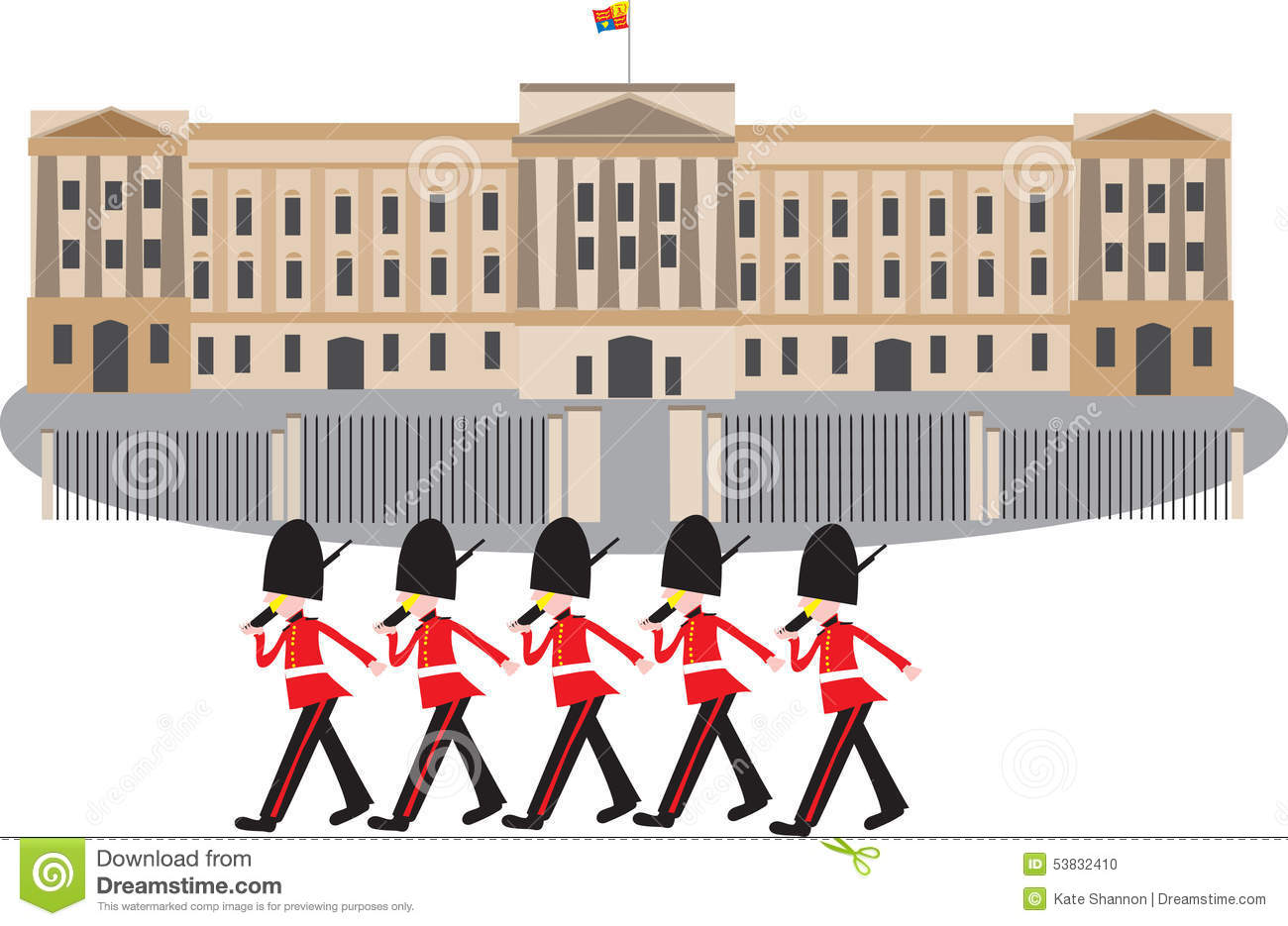 buckingham palace with guards stock vector image 53832410 matching clipart marching clipart black and white