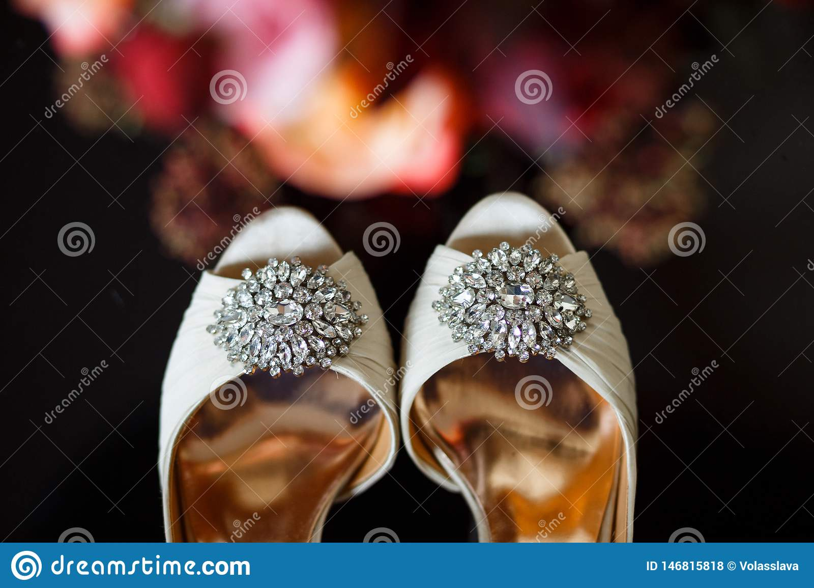 Buckles with crystals on wedding shoes