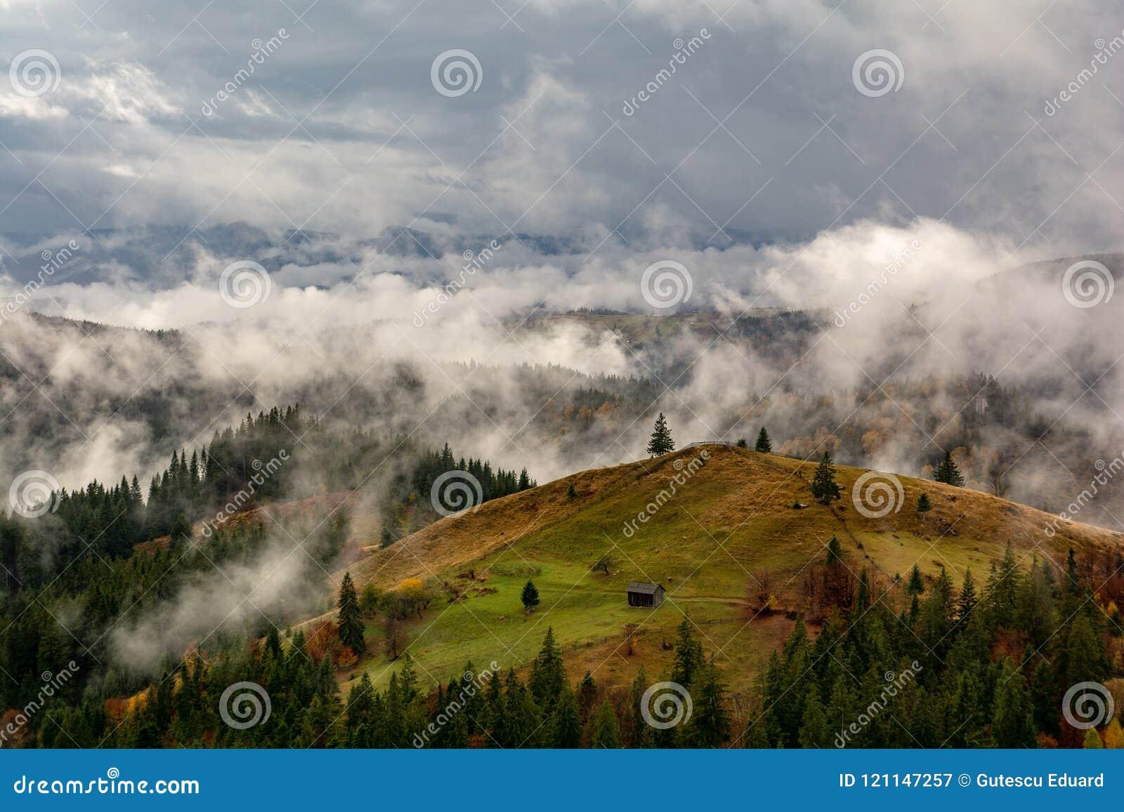 Bucovina höstlandskap i Rumänien med mist och berg