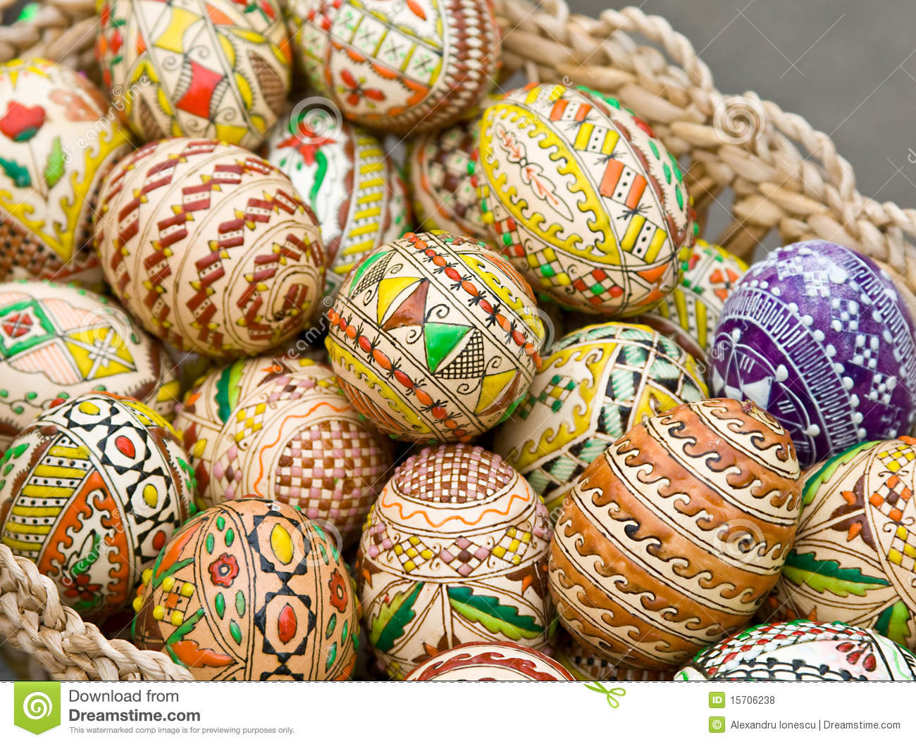 Bucovina Traditional Easter Eggs In A Basket Stock Photo