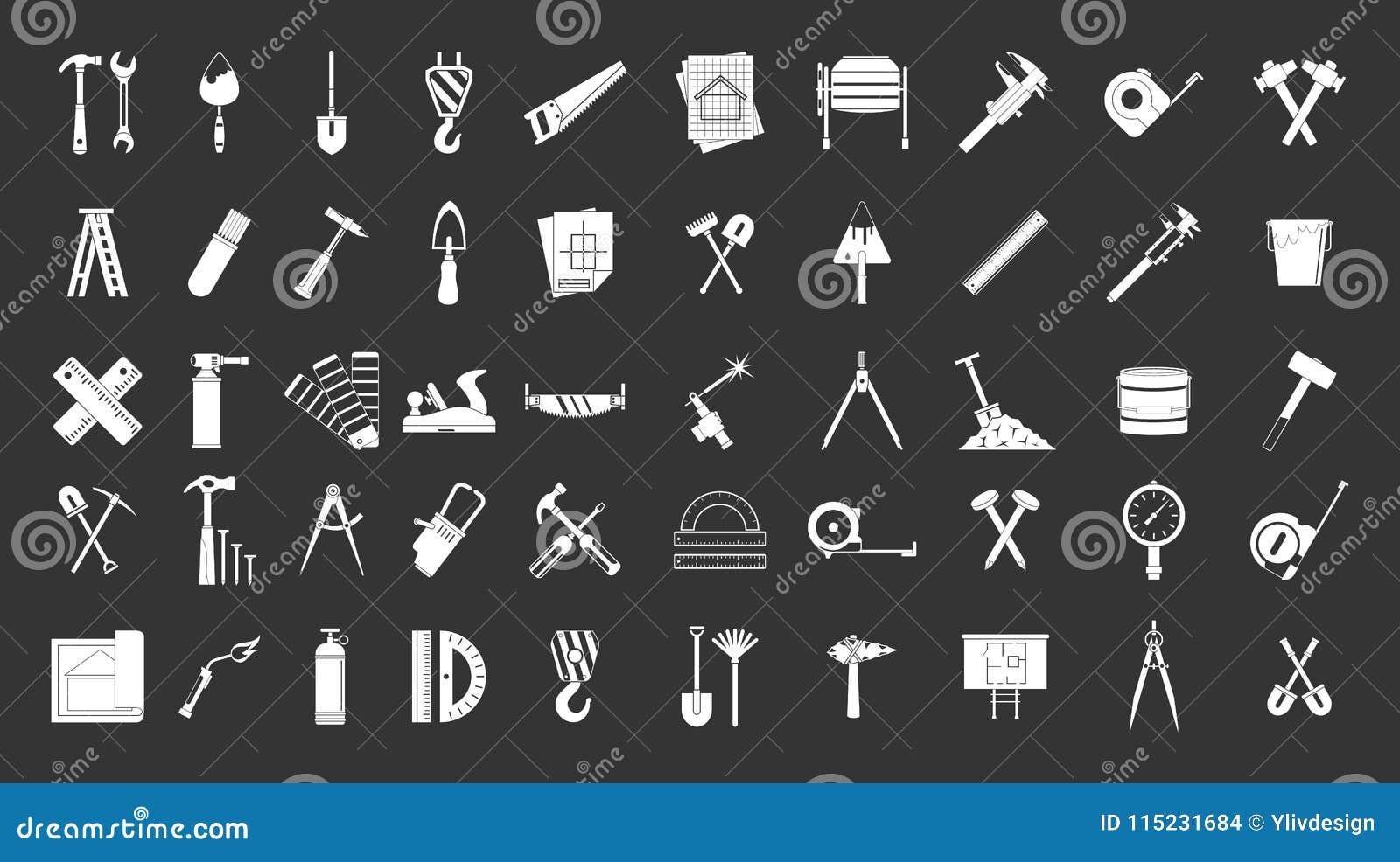 Budów narzędzi ikony setu popielaty wektor