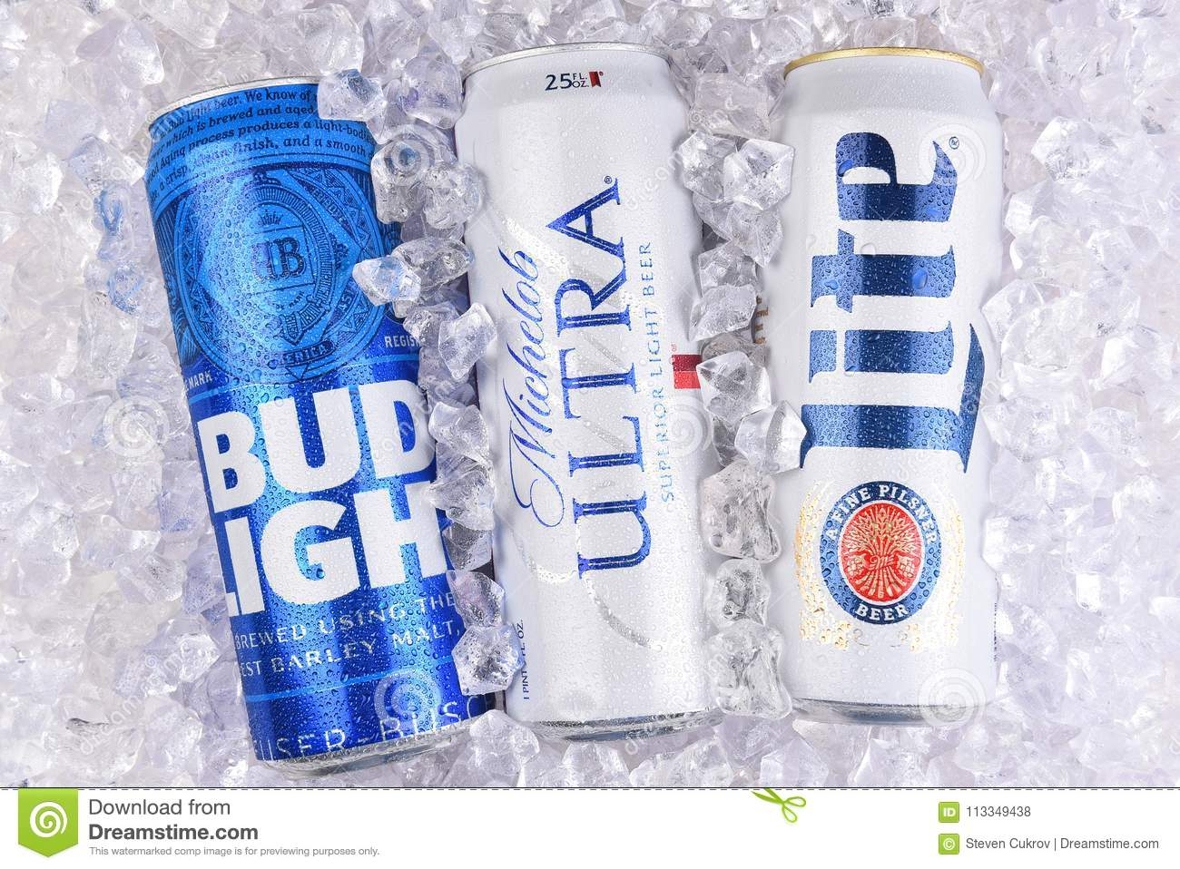 IRVINE, CALIFORNIA   MARCH 29, 2018: Three Of The Most Popular Light Beers  In A Bed Of Ice. King Cans Of Bud Light, Michelob Ultra, And Miller Lite.