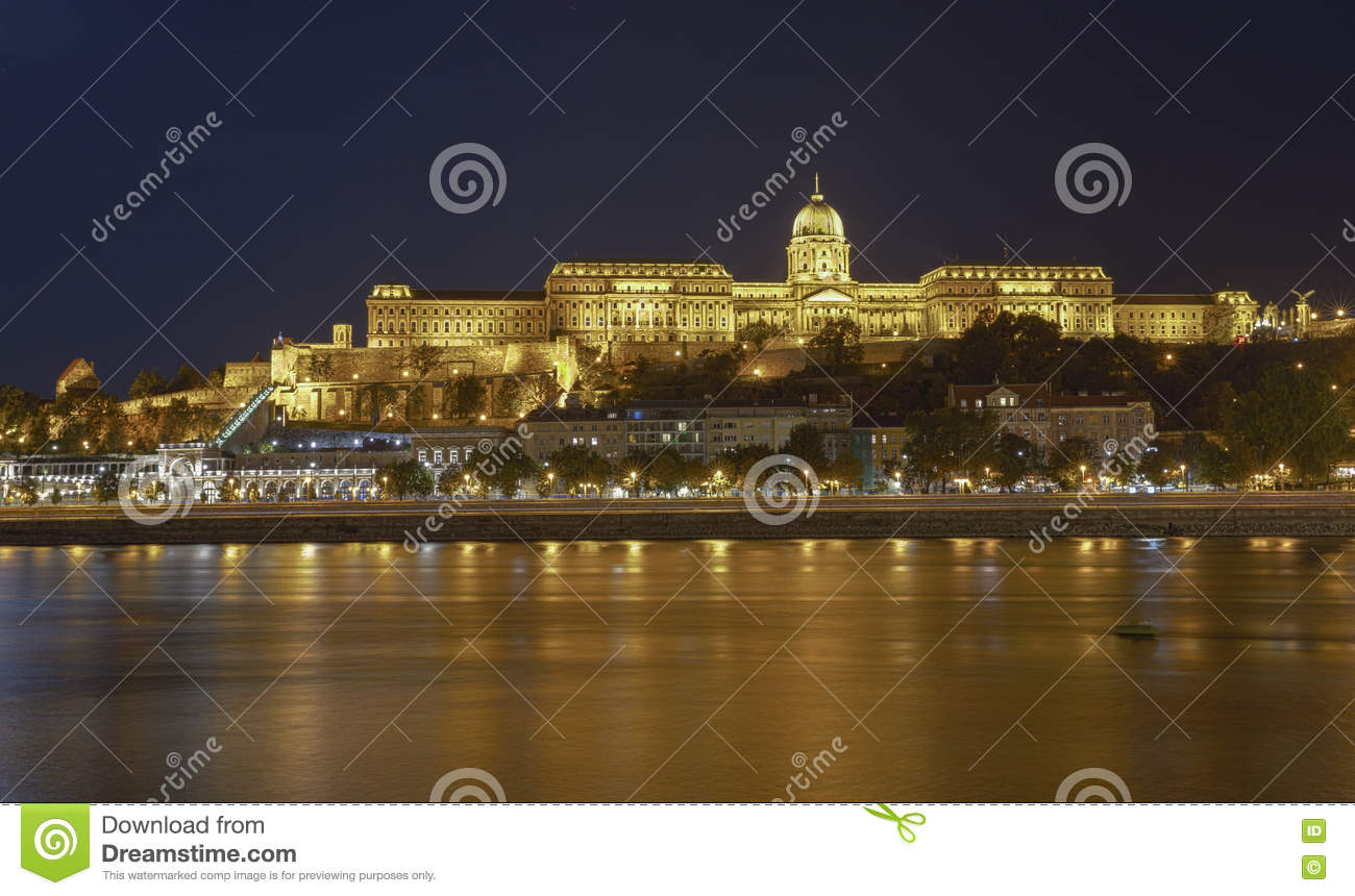 Buda Castle by Danube river at night. Budapest, Hungary. HDR.