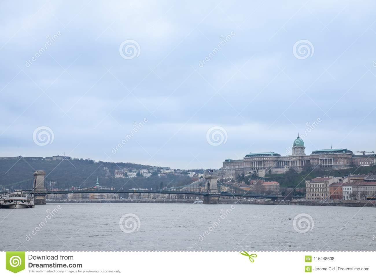 Buda Castle seen from Pest with the Danube and Szechenyi Chain Bridge in front.