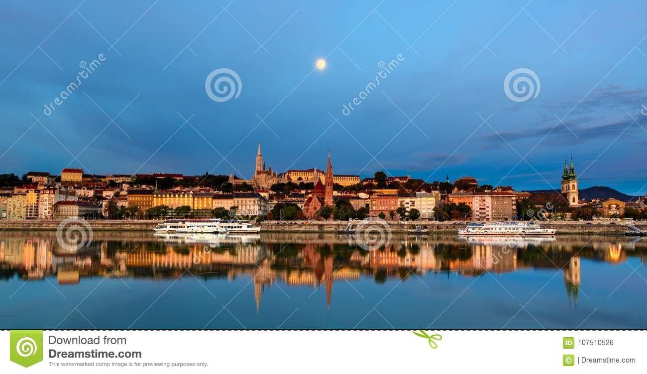 Buda side of Budapest city under the moon