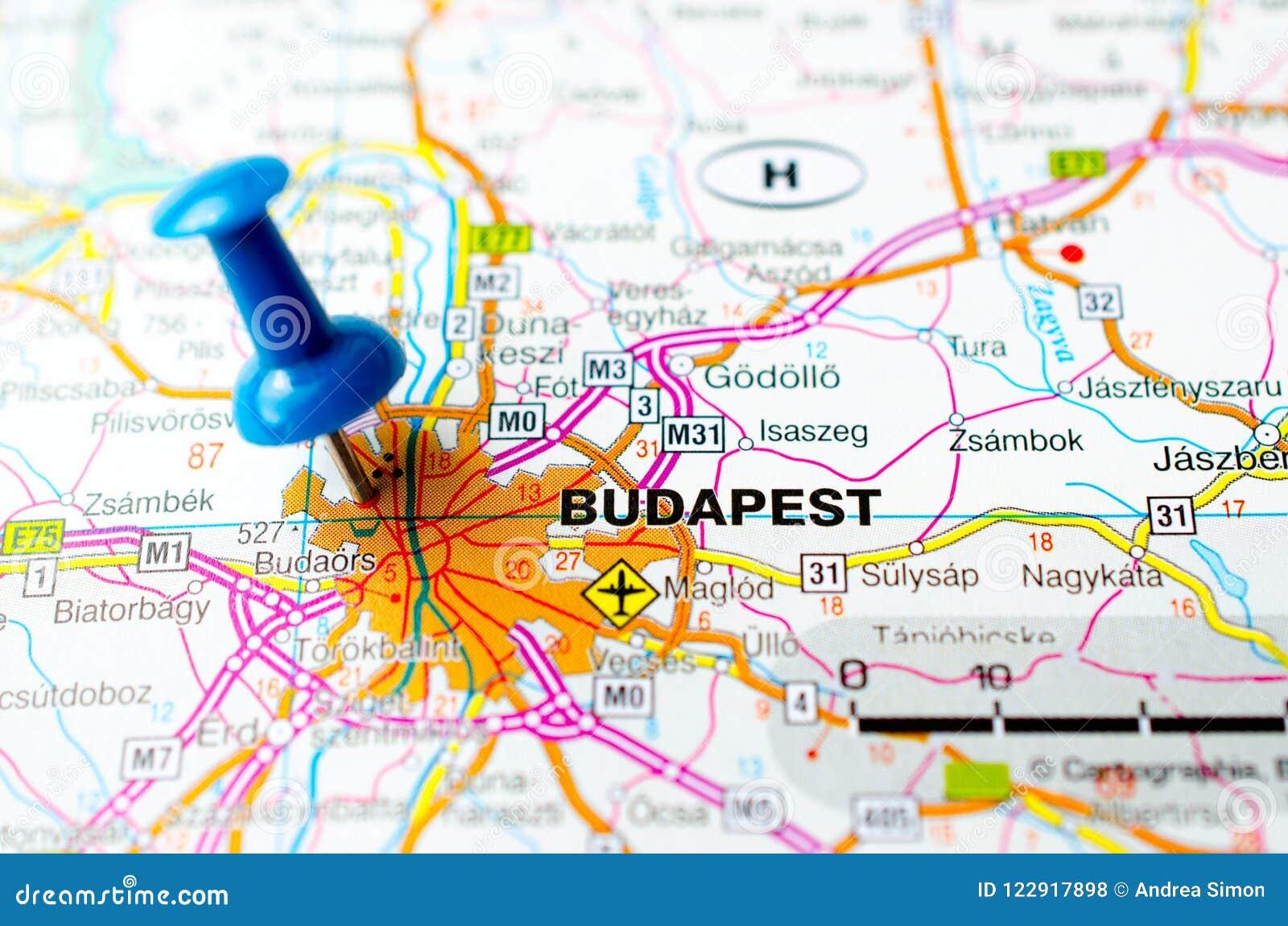 budapest karte Budapest auf Karte stockfoto. Bild von cartography, schuß   122917898