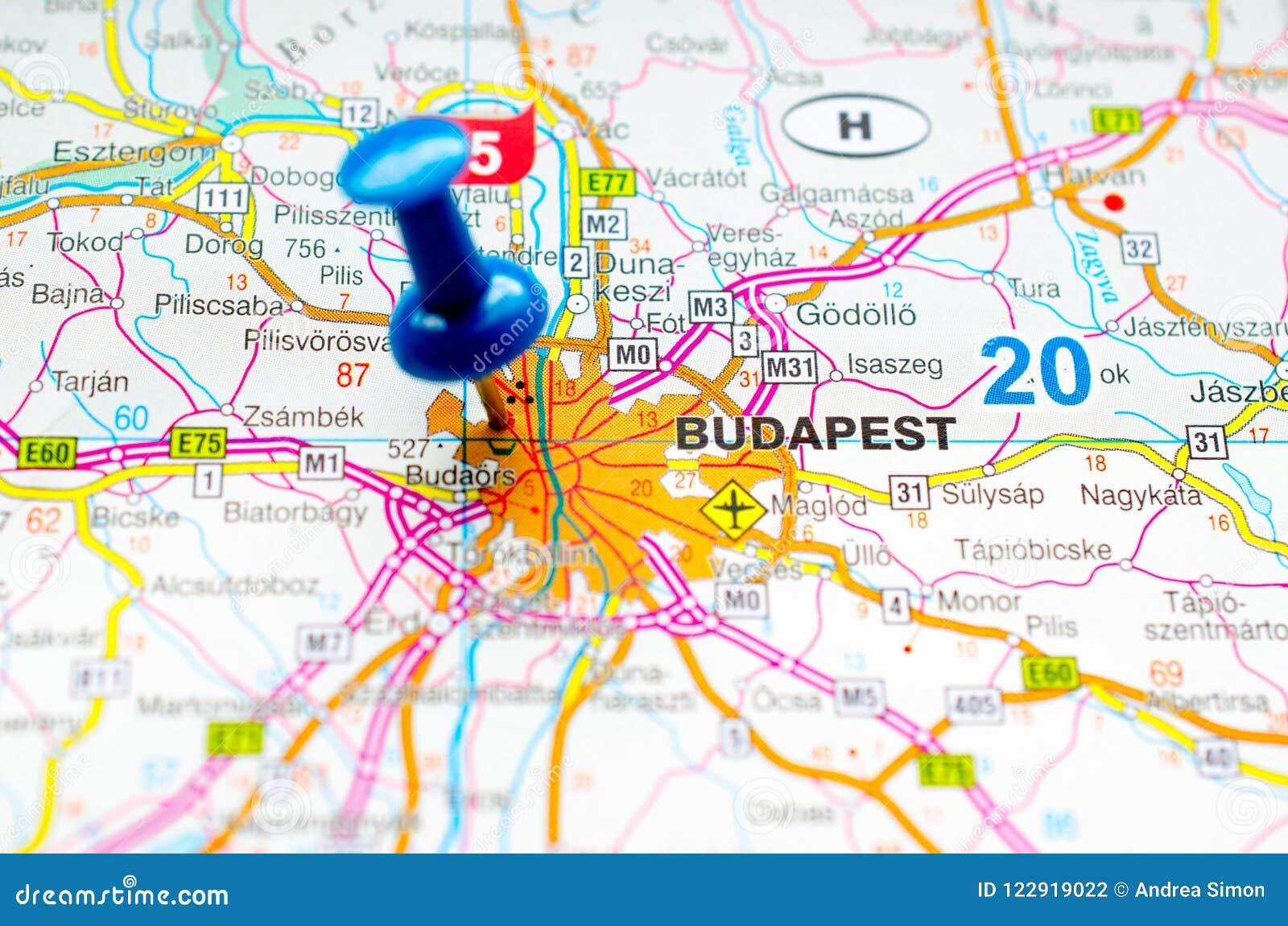 budapest karte Budapest auf Karte stockfoto. Bild von geographie, cartography