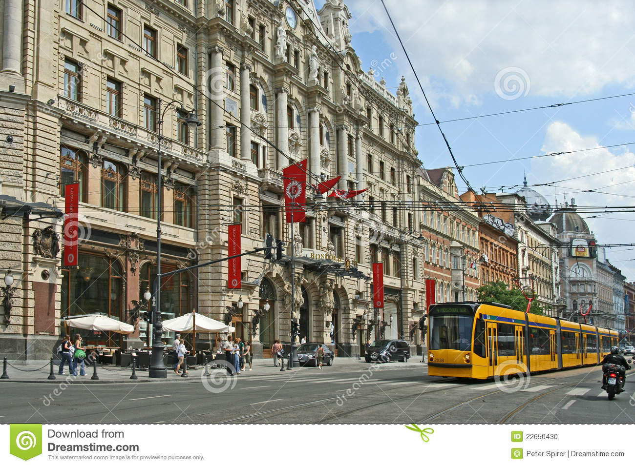 Budapest baroque hotel with modern tram editorial image for Baroque hotel
